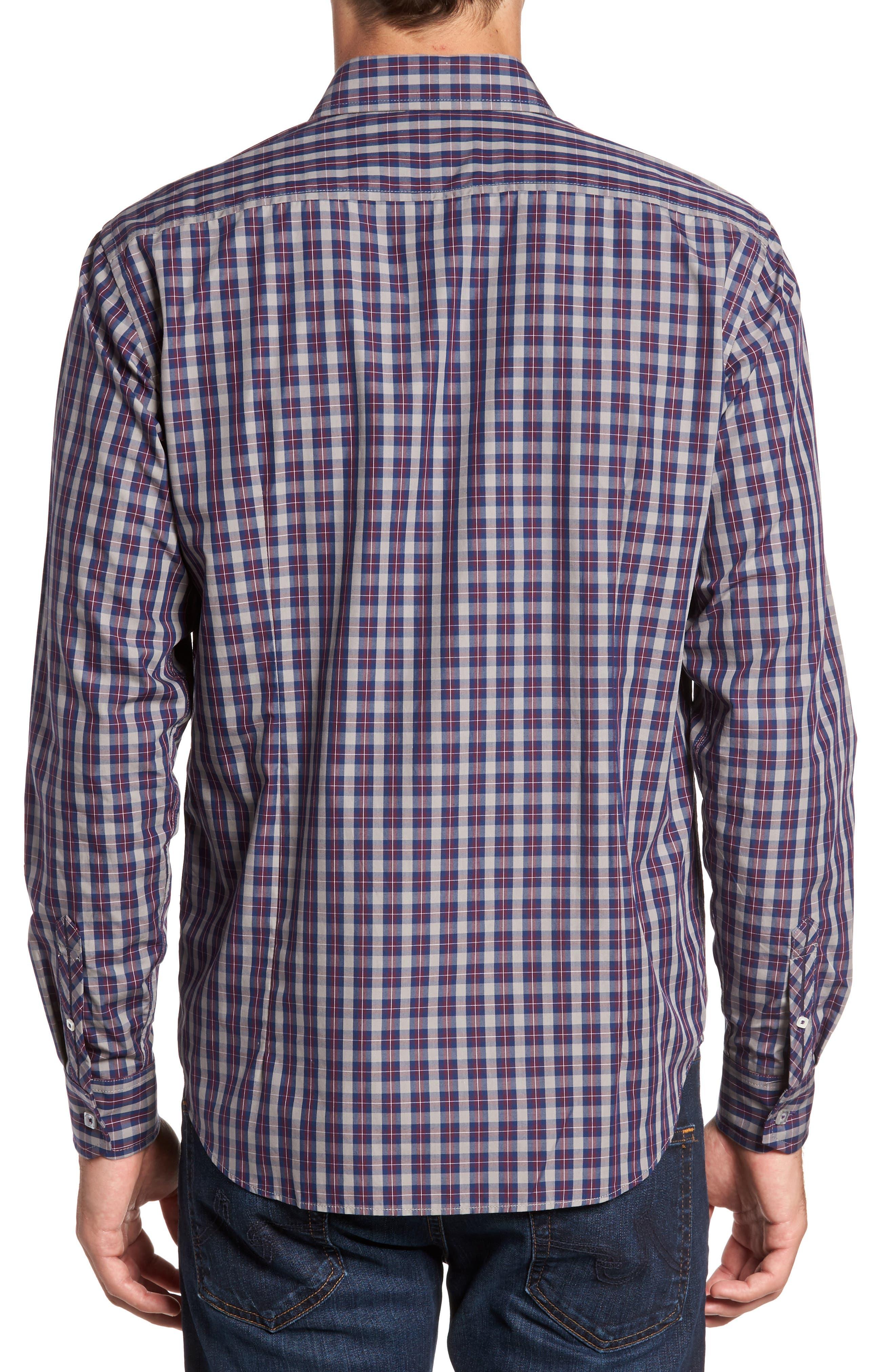 Regular Fit Plaid Sport Shirt,                             Alternate thumbnail 2, color,                             Burgundy
