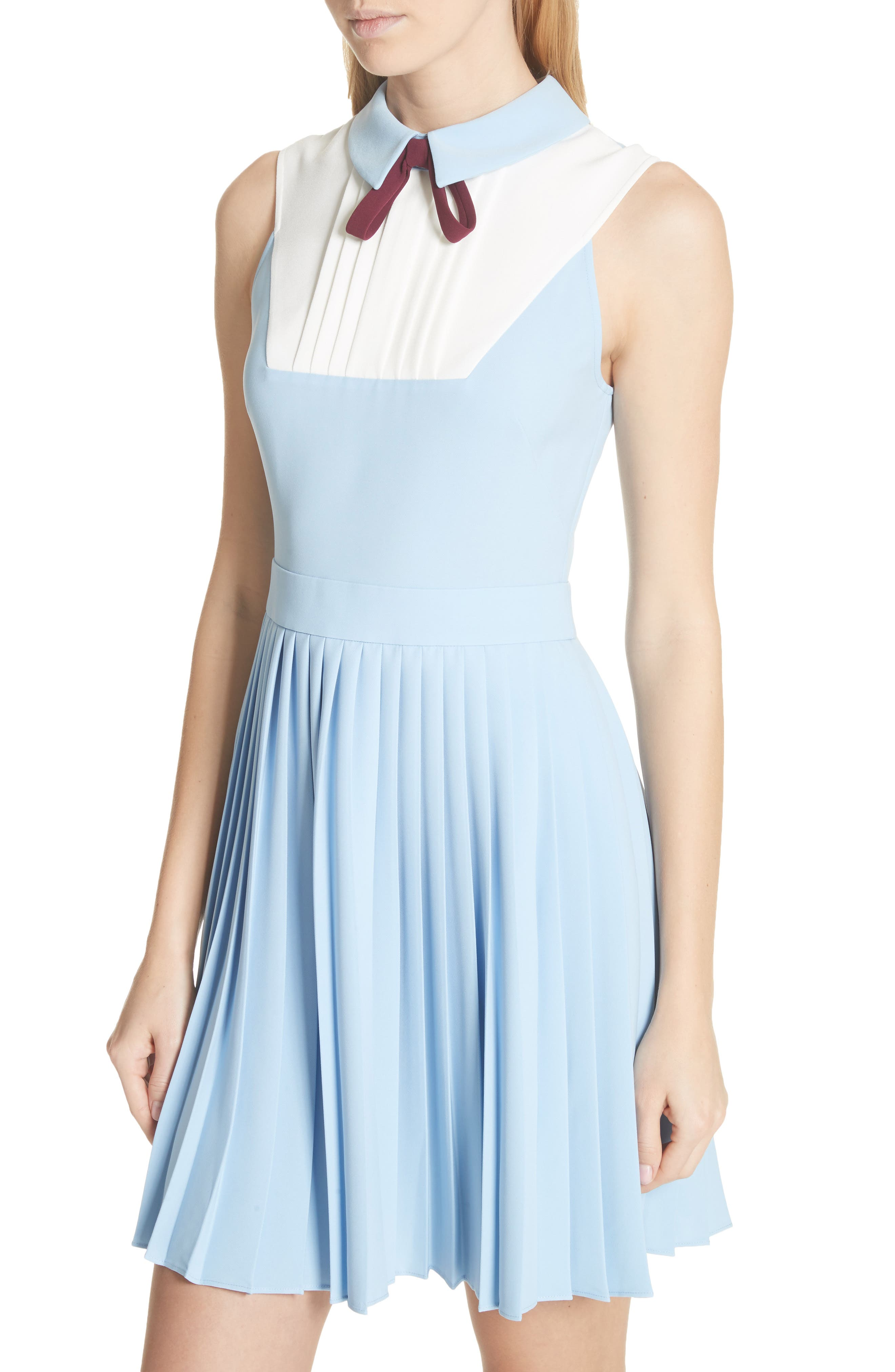 Pleated Fit & Flare Dress,                             Alternate thumbnail 4, color,                             Baby Blue