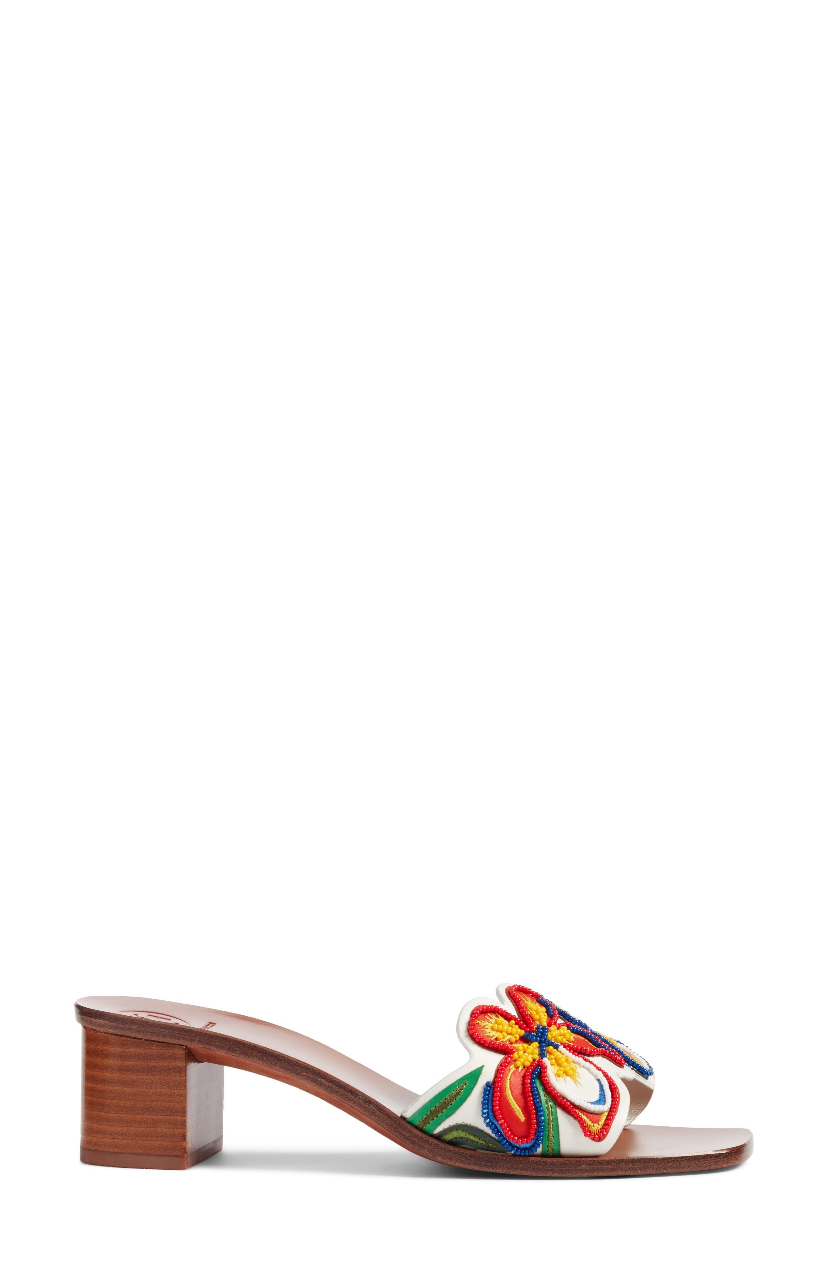 Bianca Floral Embellished Slide Sandal,                             Alternate thumbnail 3, color,                             Perfect Ivory/ Multi Color