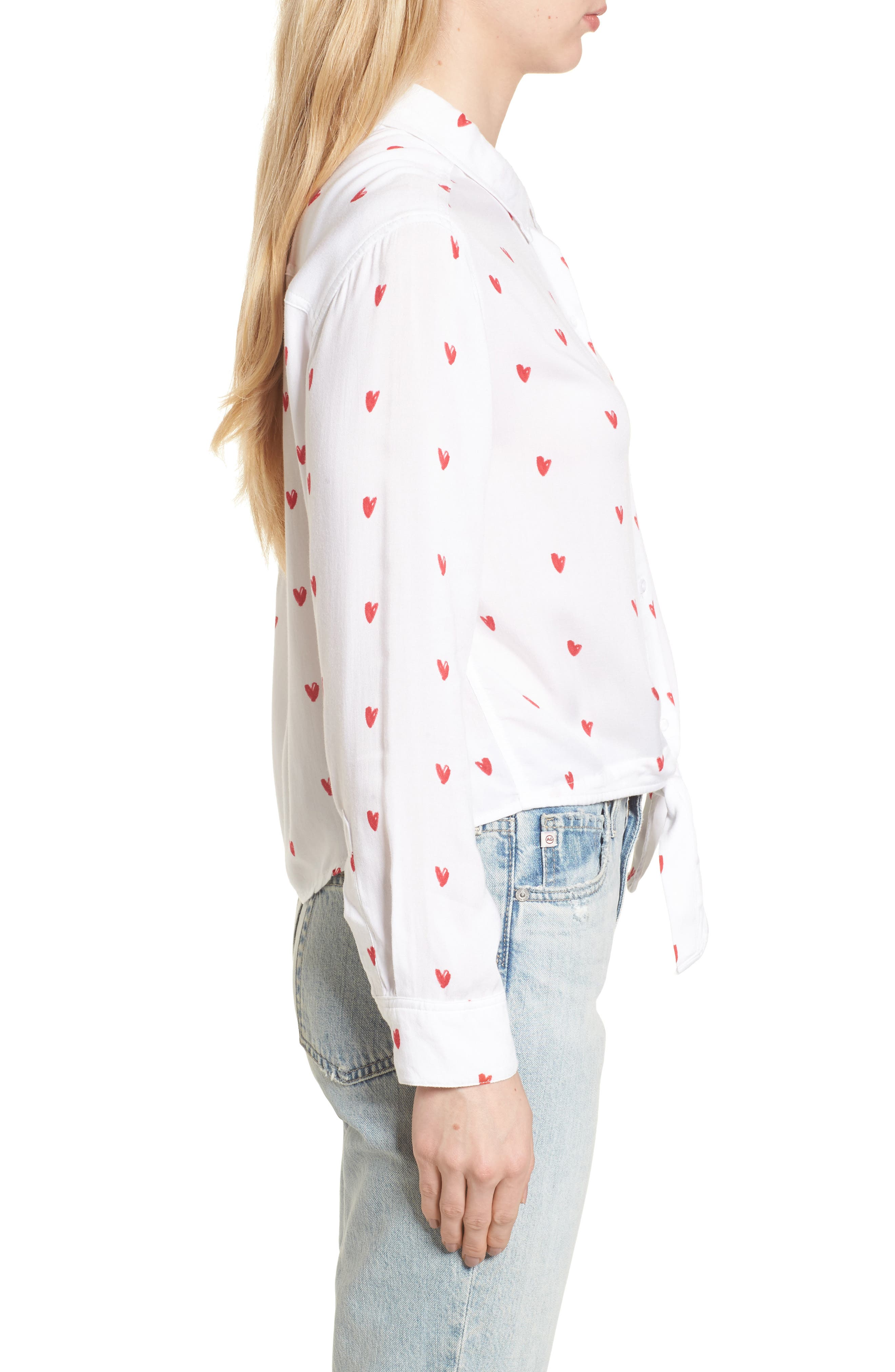 Val Tie Front Shirt,                             Alternate thumbnail 3, color,                             Lipstick Hearts