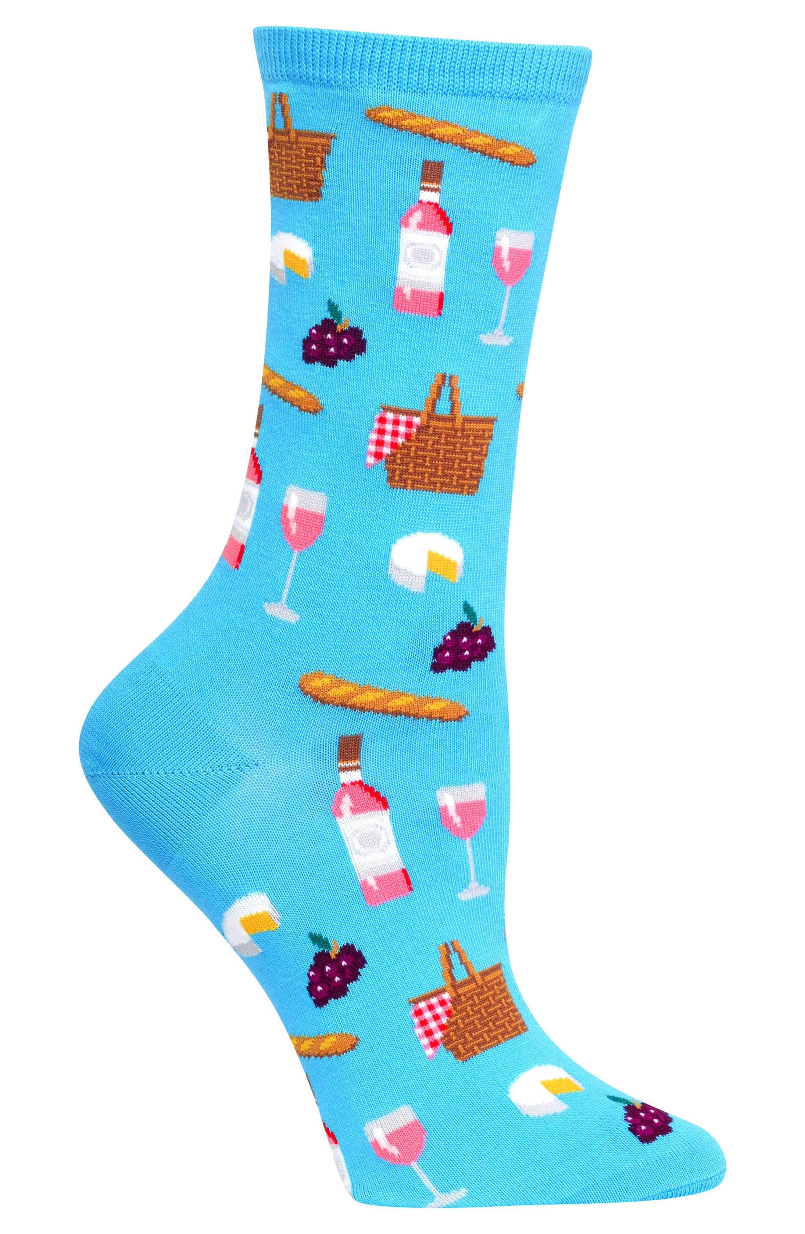 Picnic Crew Socks,                             Alternate thumbnail 3, color,                             Light Blue