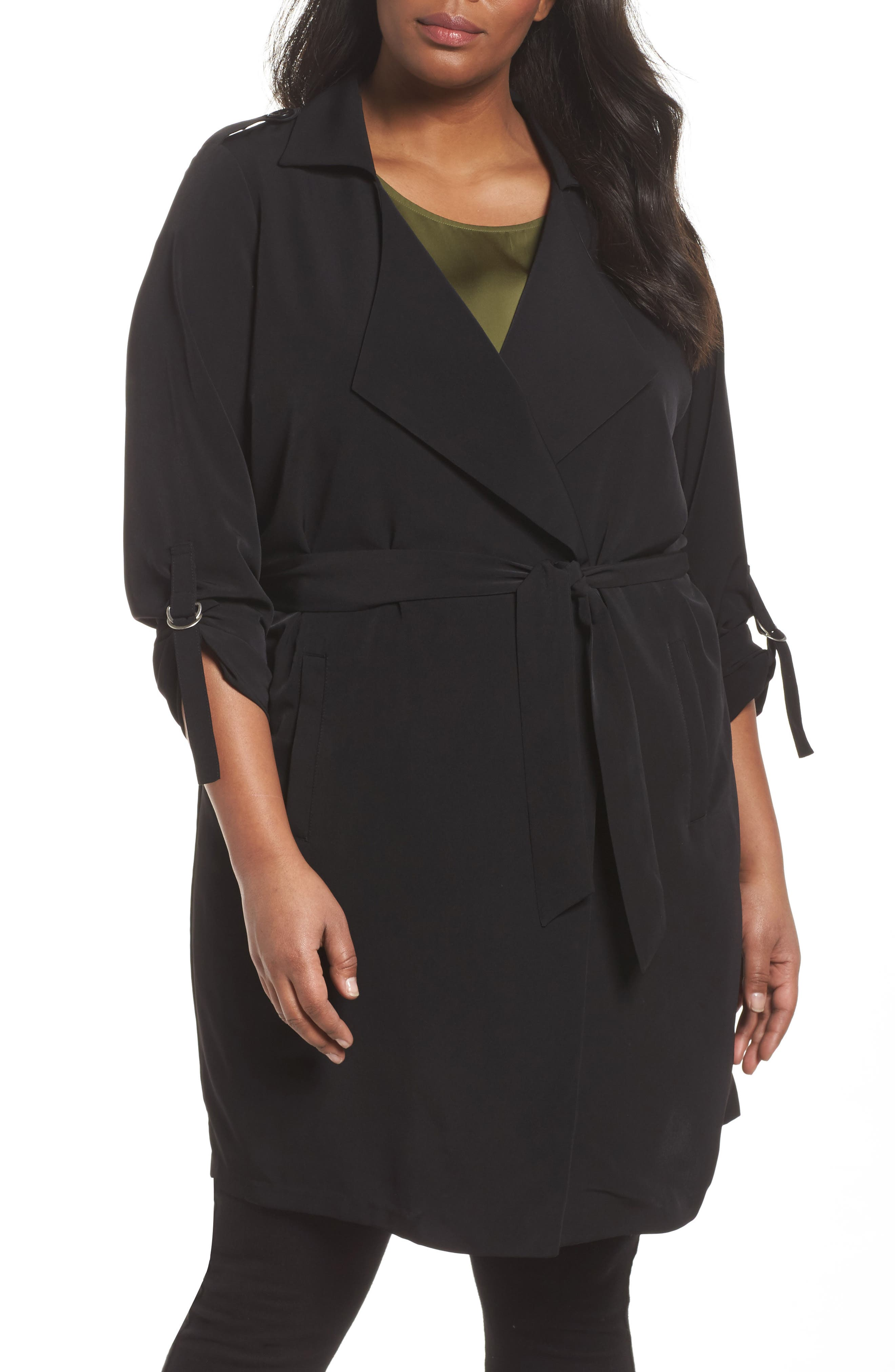 Kaiza Trench Coat,                         Main,                         color, Black Beauty