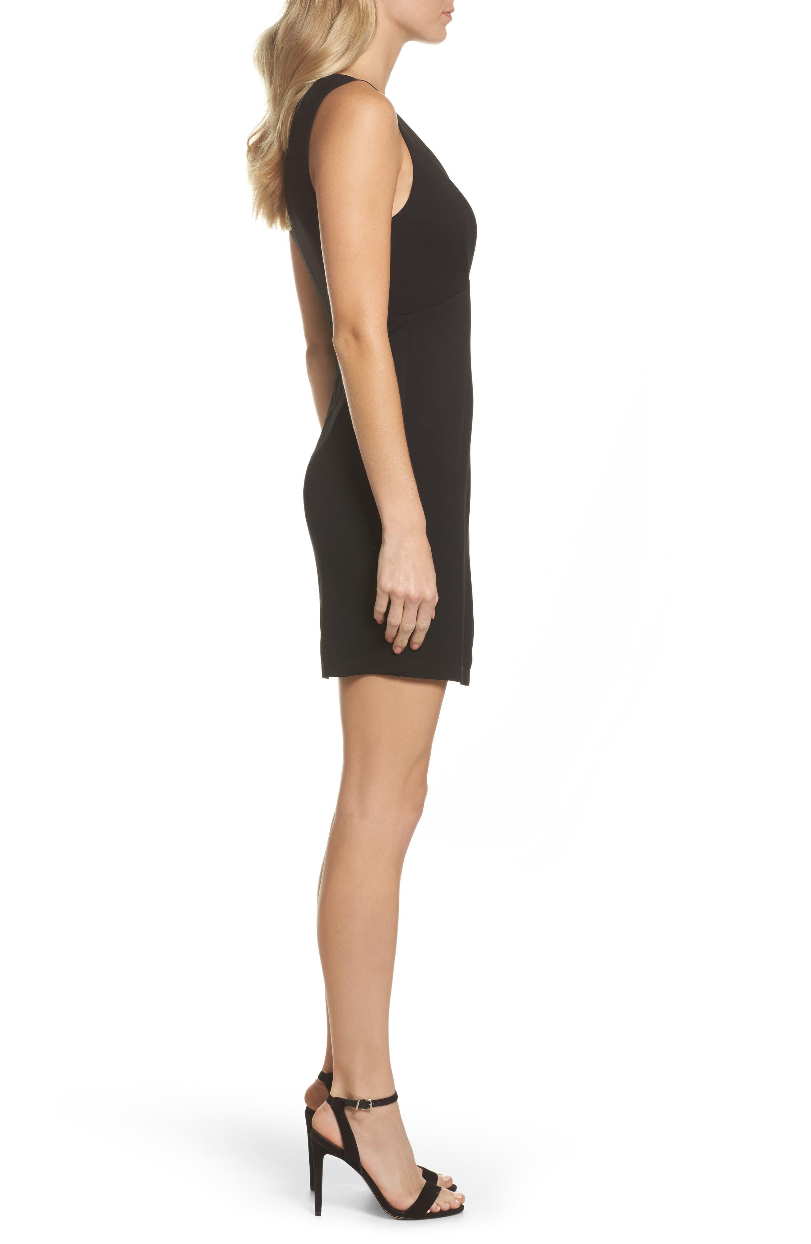 Plunging Jersey Minidress,                             Alternate thumbnail 3, color,                             Black