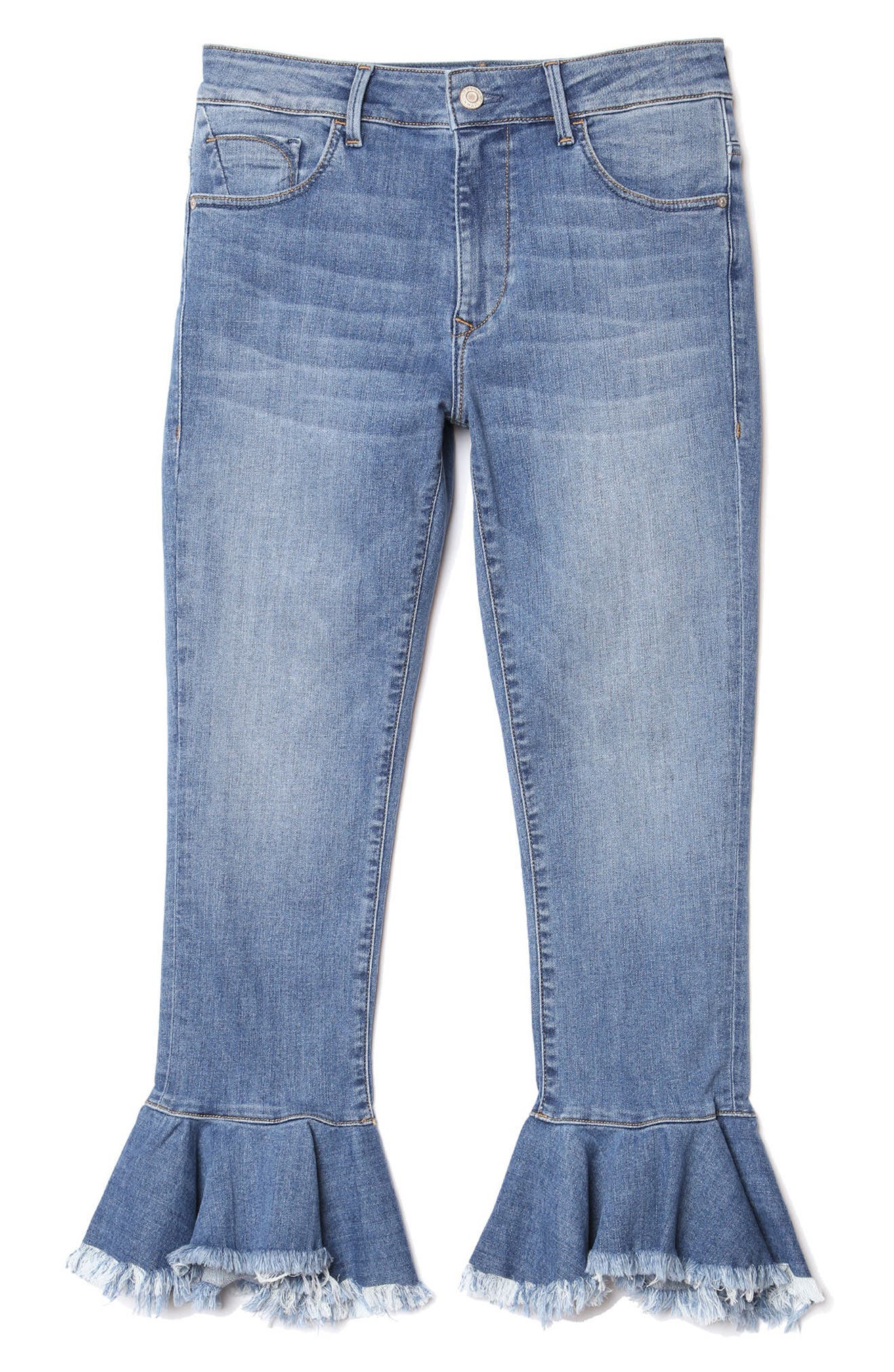 Mavi Tessa Super Skinny Flounce Hem Jeans,                             Alternate thumbnail 5, color,                             Mid Brushed Cheeky
