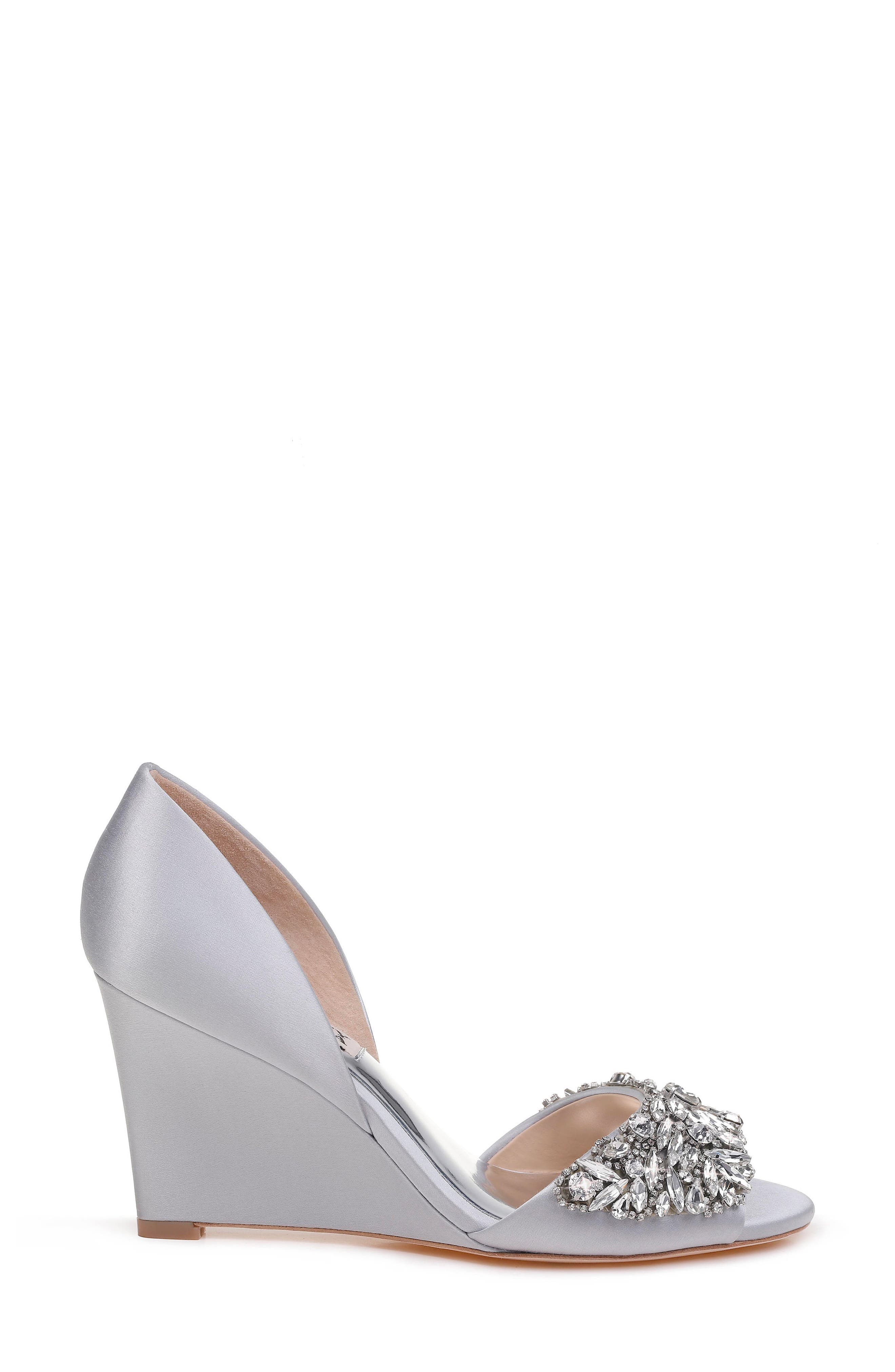 Hardy Embellished Wedge,                             Alternate thumbnail 3, color,                             Silver Satin