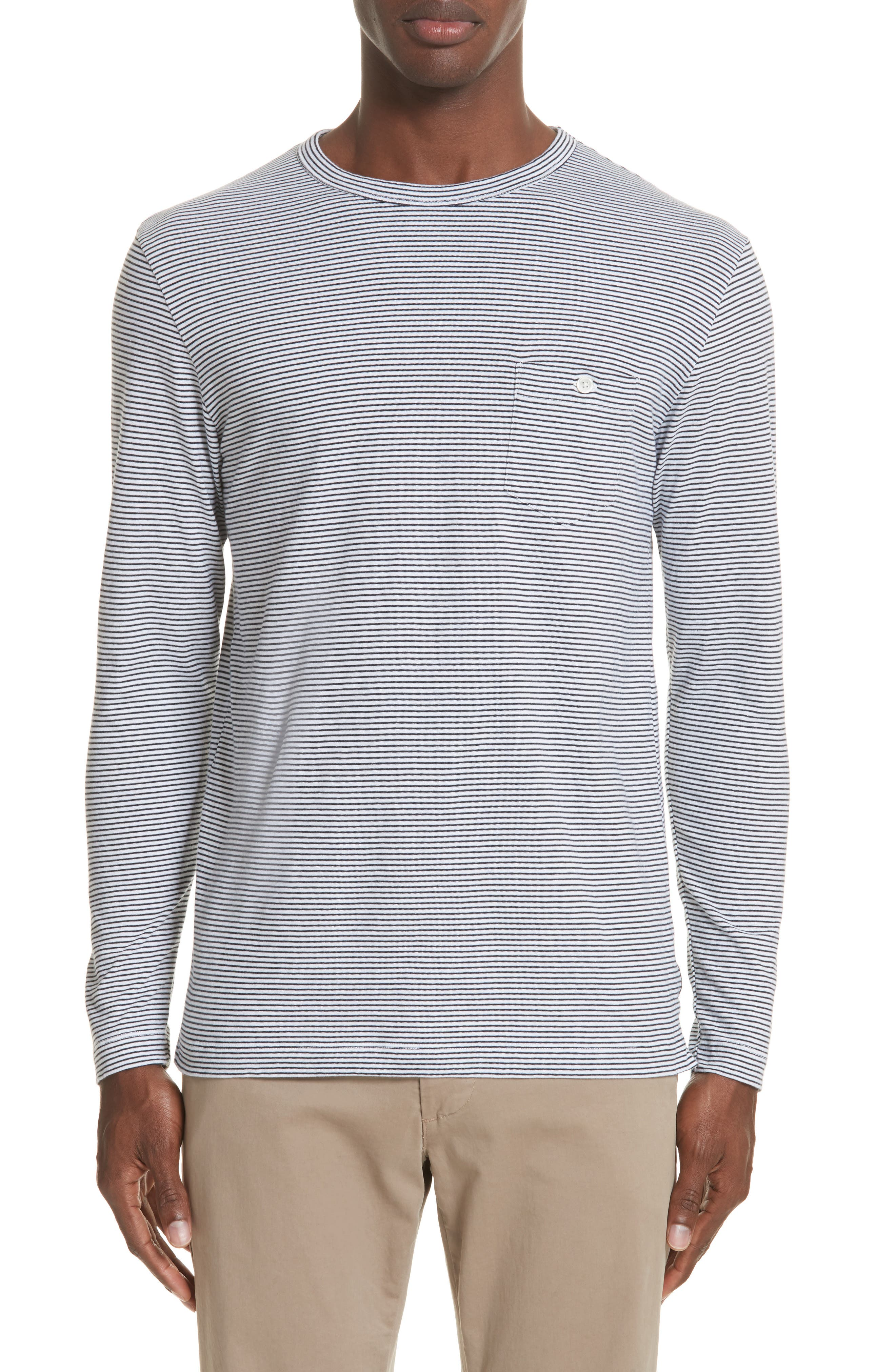TODD SNYDER Stripe Long Sleeve T-Shirt in Navy
