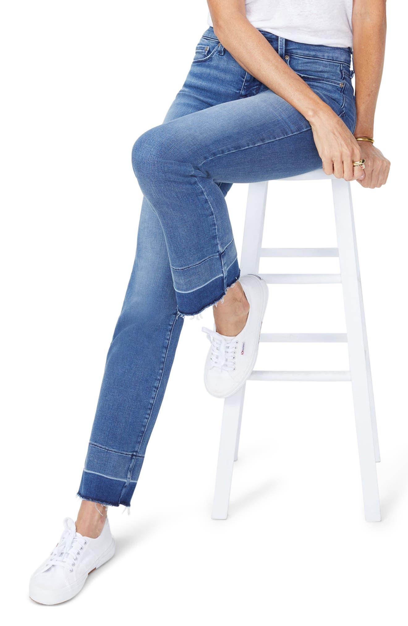 Marilyn Wide Release Hem Straight Leg Jeans,                             Main thumbnail 1, color,                             Wishful