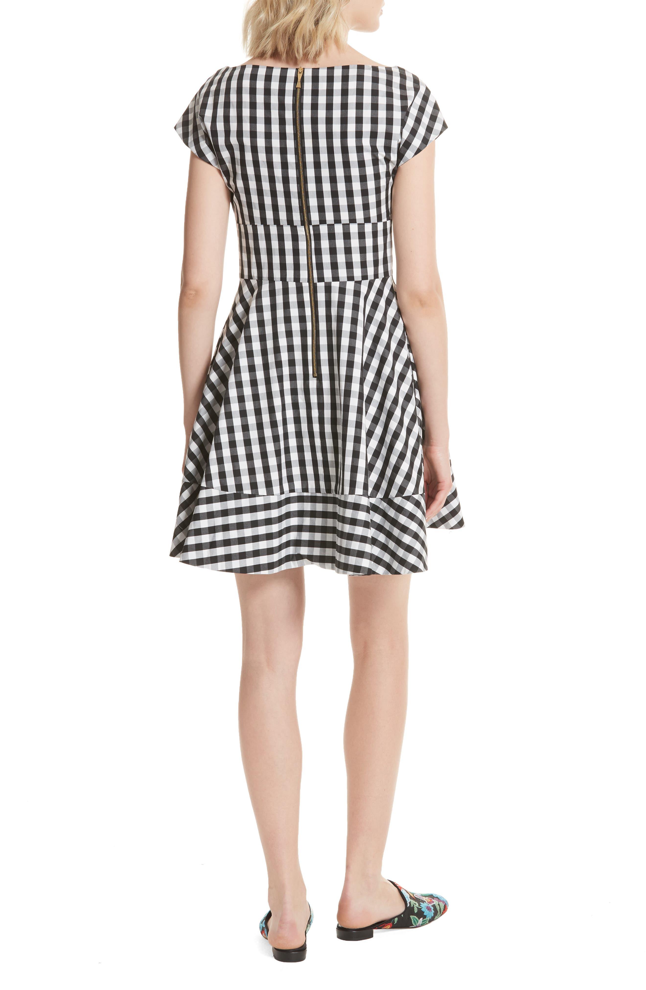 fiorella gingham fit & flare dress,                             Alternate thumbnail 2, color,                             Black