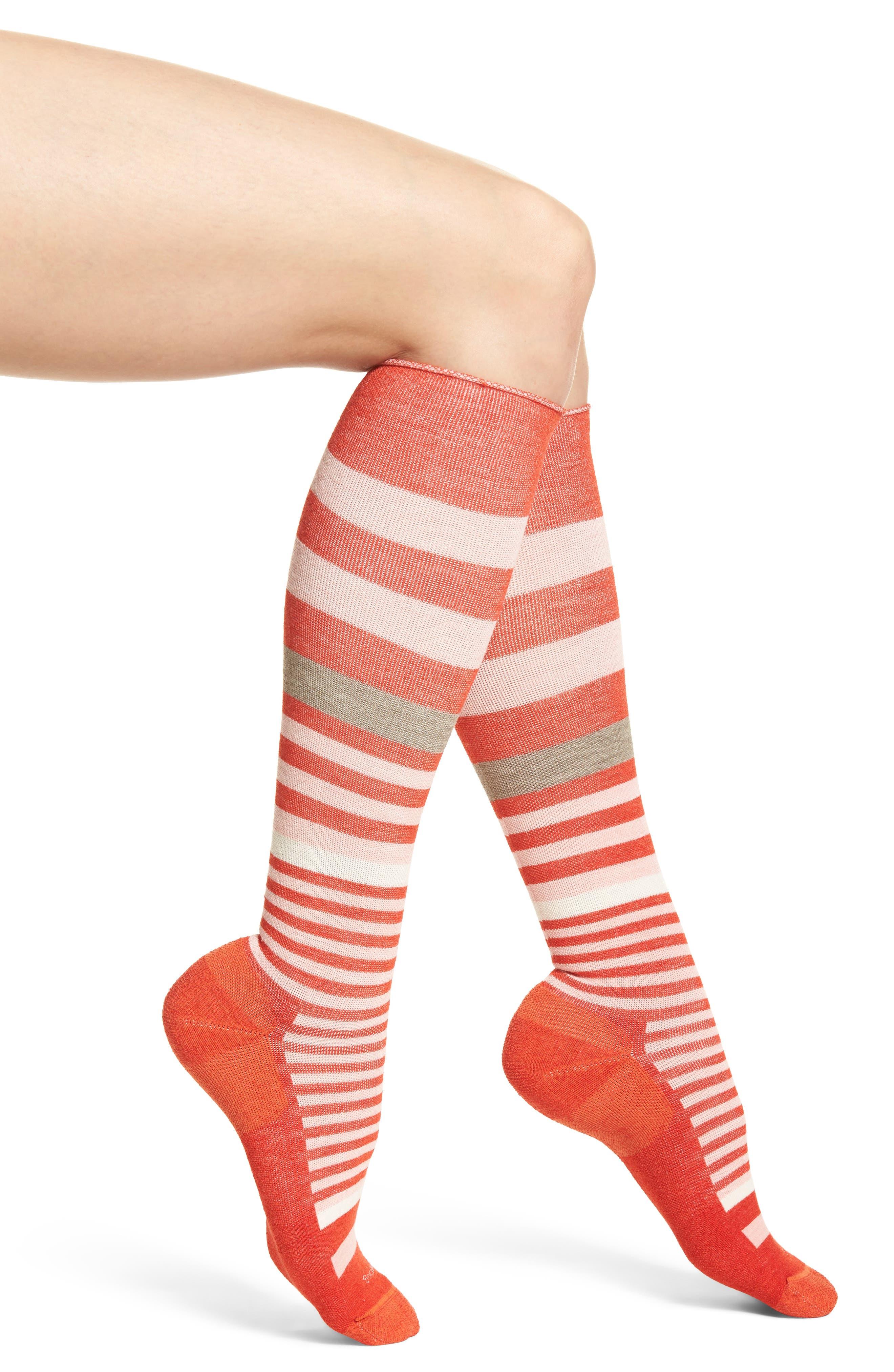'Orbital' Compression Knee Socks,                             Main thumbnail 1, color,                             Poppy