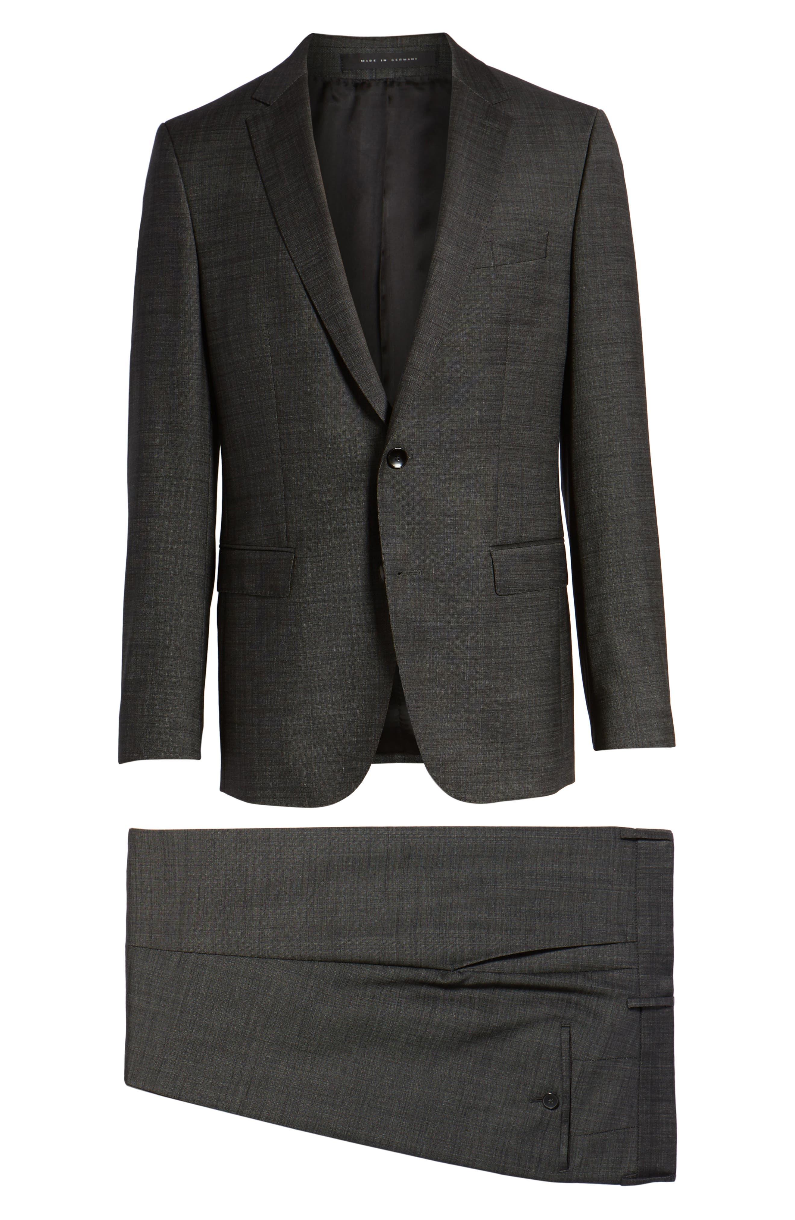 Novan/Ben Trim Fit Solid Wool Suit,                             Alternate thumbnail 8, color,                             Black