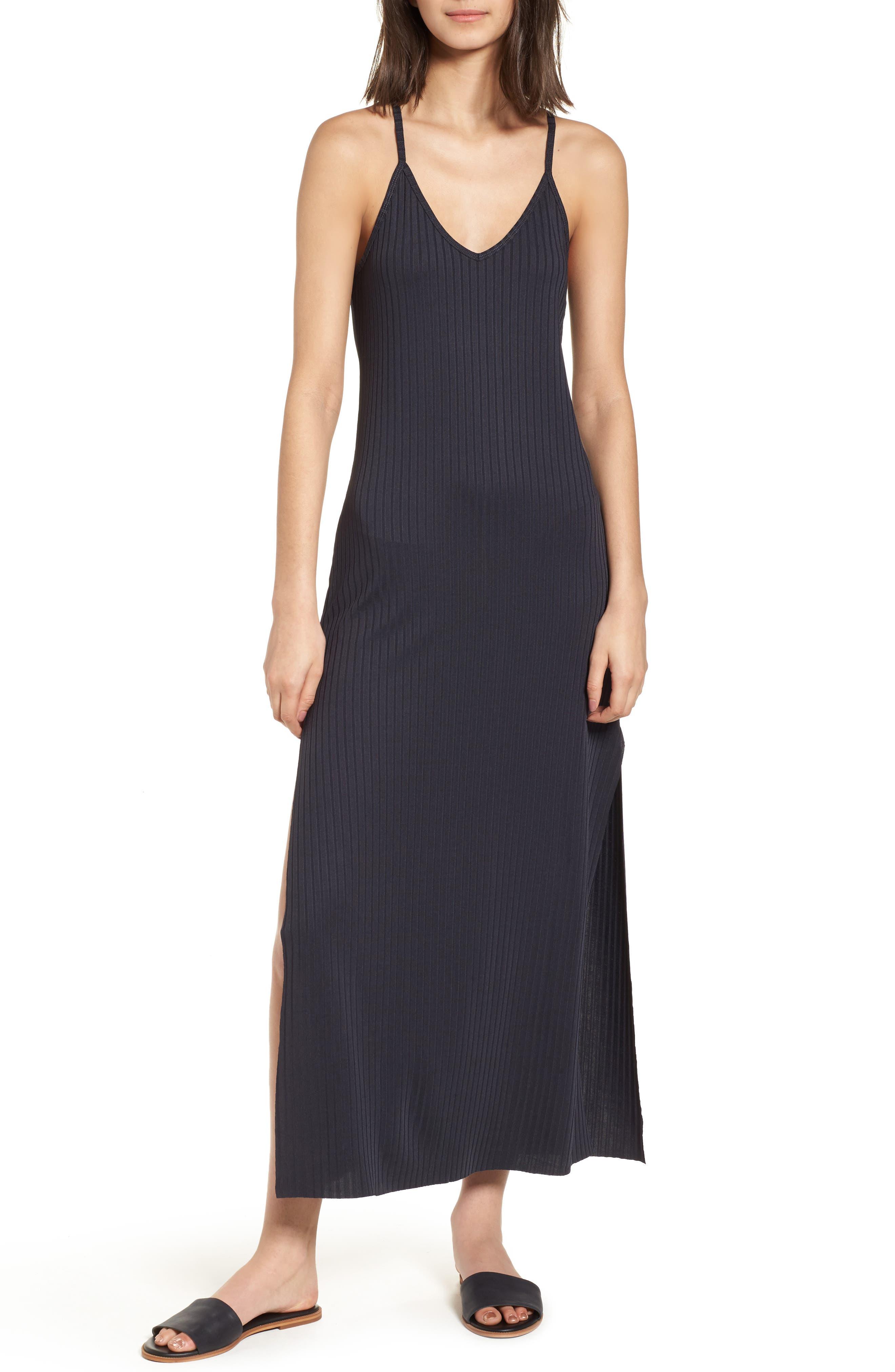 Ashlynn Ribbed Maxi Dress,                         Main,                         color, Navy