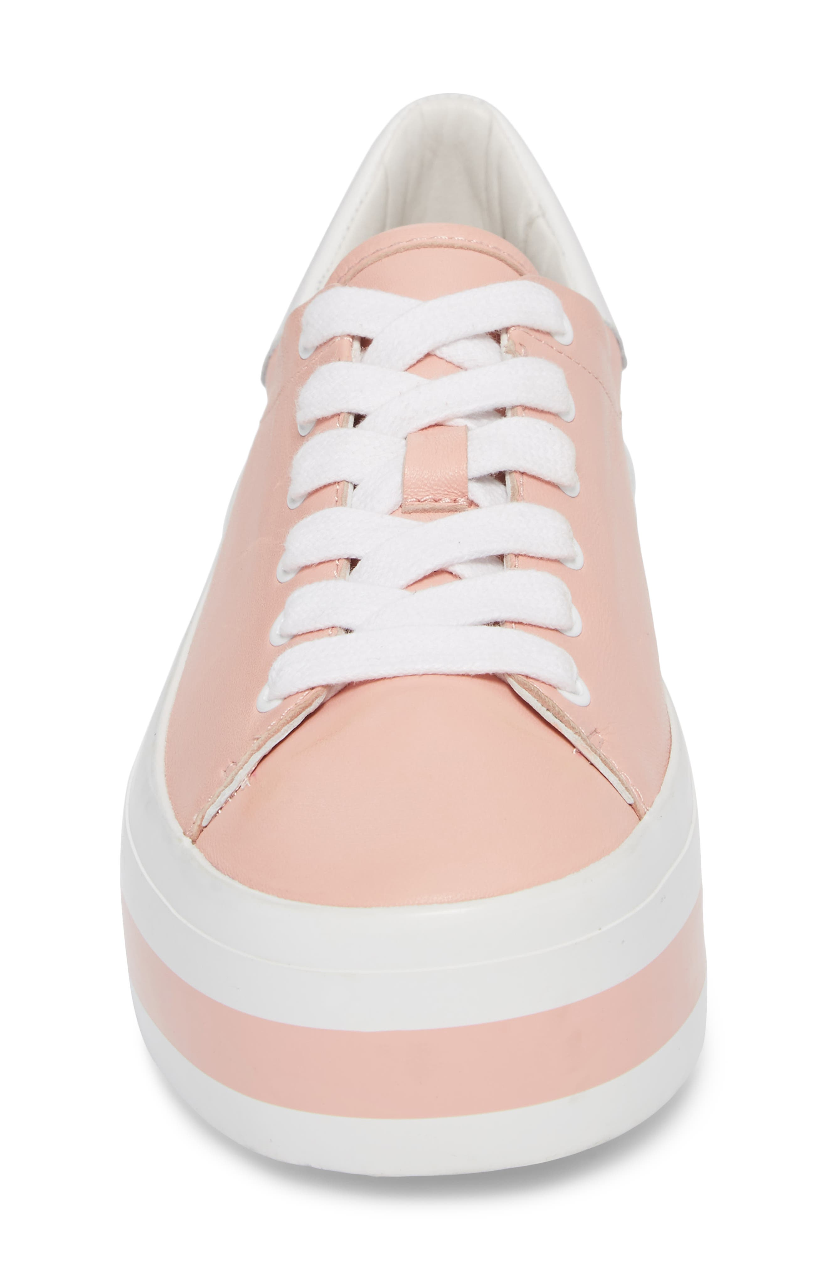 Ezra Flatform Sneaker,                             Alternate thumbnail 5, color,                             Perfect Pink / Pure White