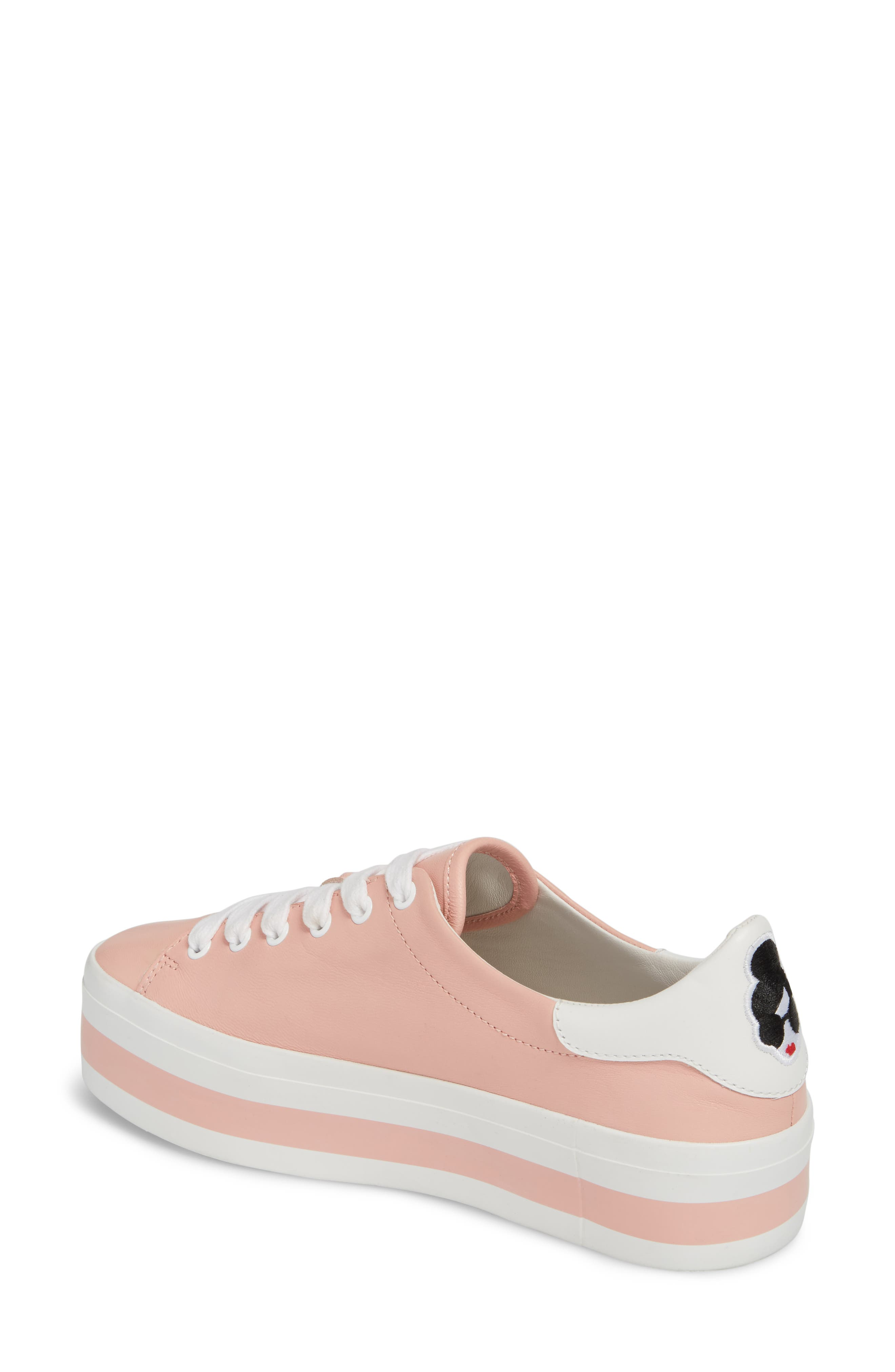 Ezra Flatform Sneaker,                             Alternate thumbnail 2, color,                             Perfect Pink / Pure White