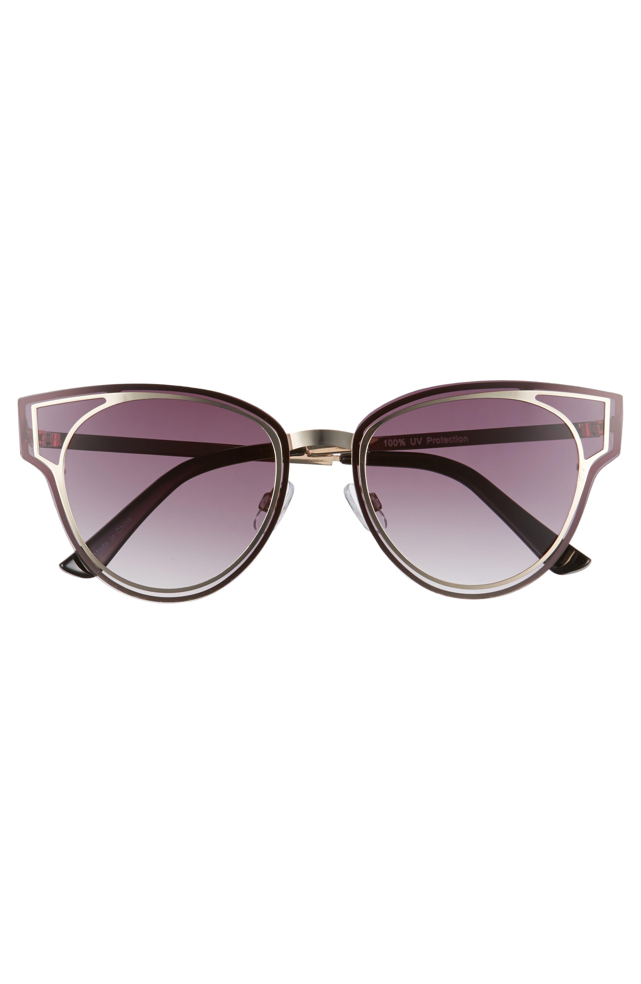 Geo Flat Metal Cutout Sunglasses,                             Alternate thumbnail 3, color,                             Gold/ Smoke