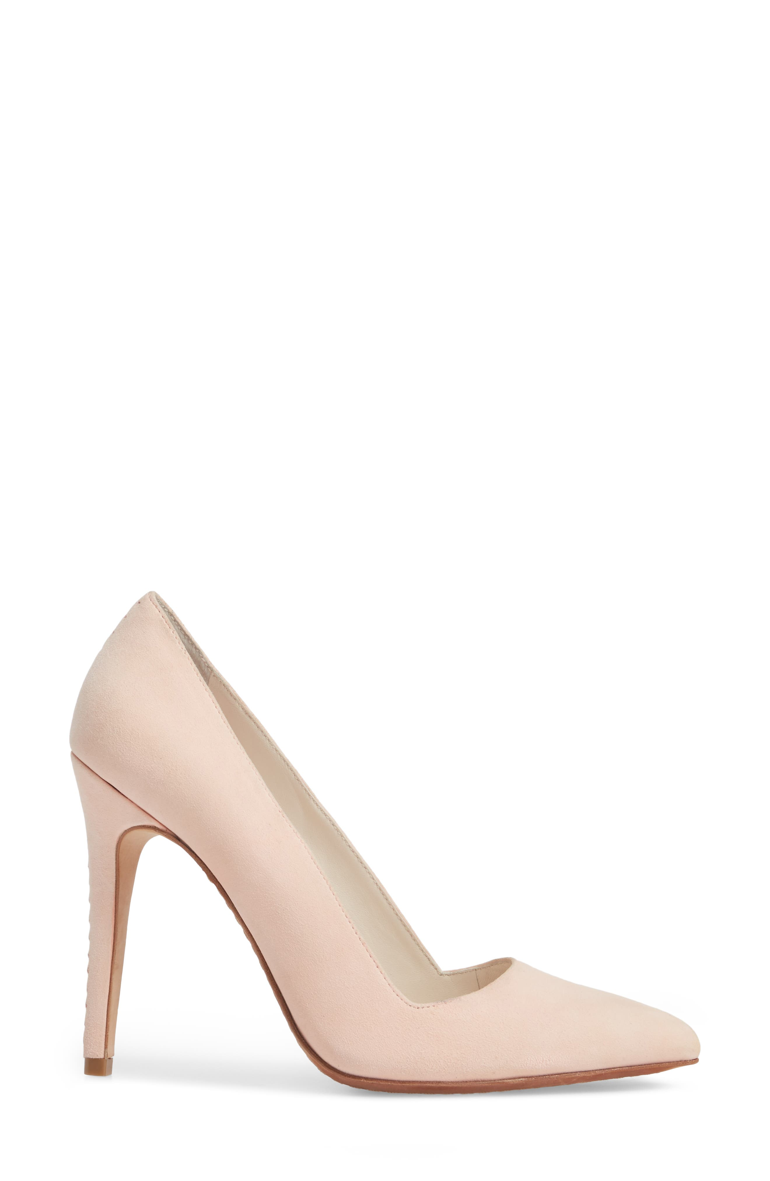 Dina 95 Whipstitch Pointy Toe Pump,                             Alternate thumbnail 3, color,                             Perfect Pink Suede