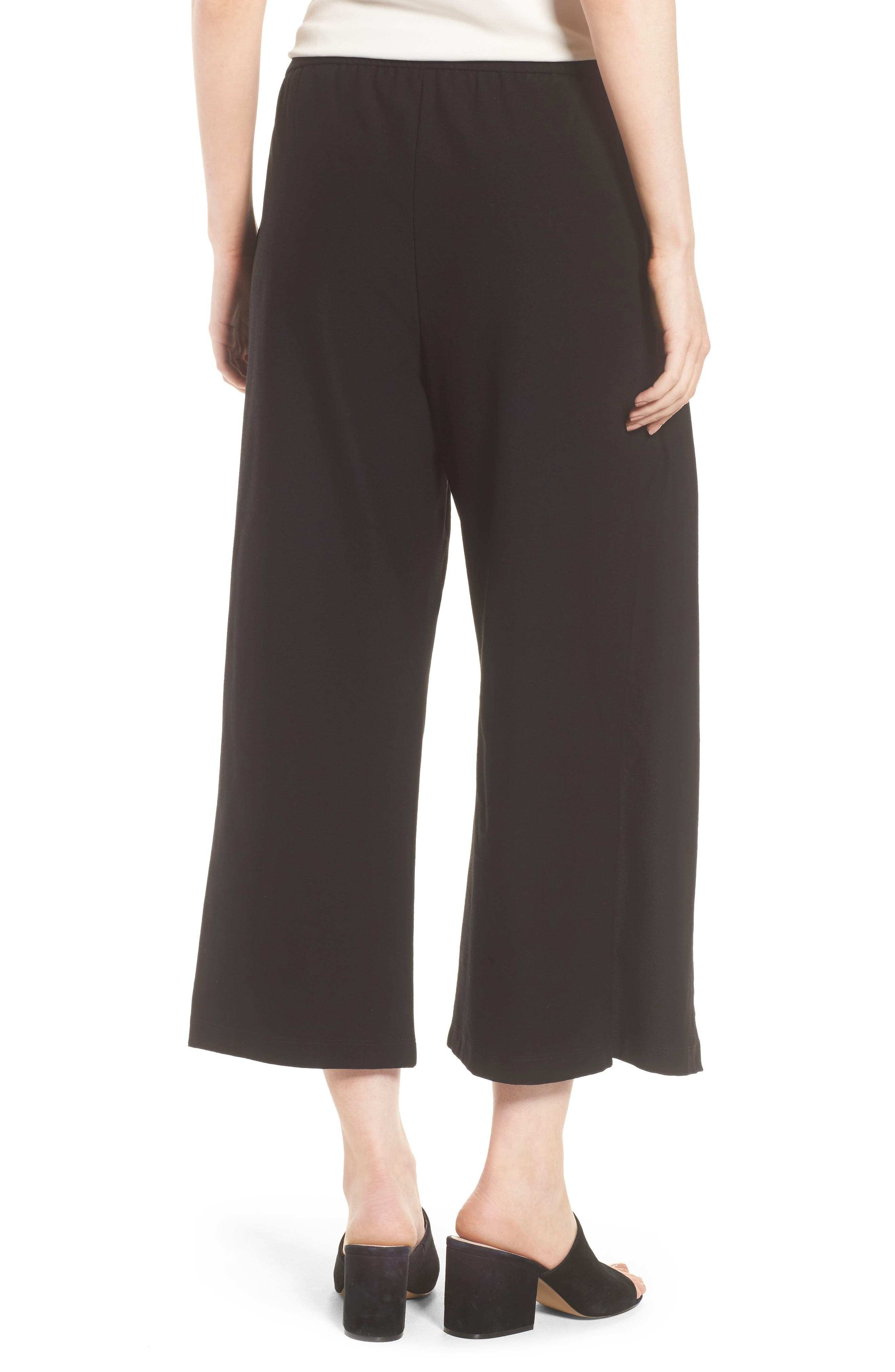 Washable Stretch Crepe Tie-Front Crop Wide Leg Pants,                             Alternate thumbnail 2, color,                             Black