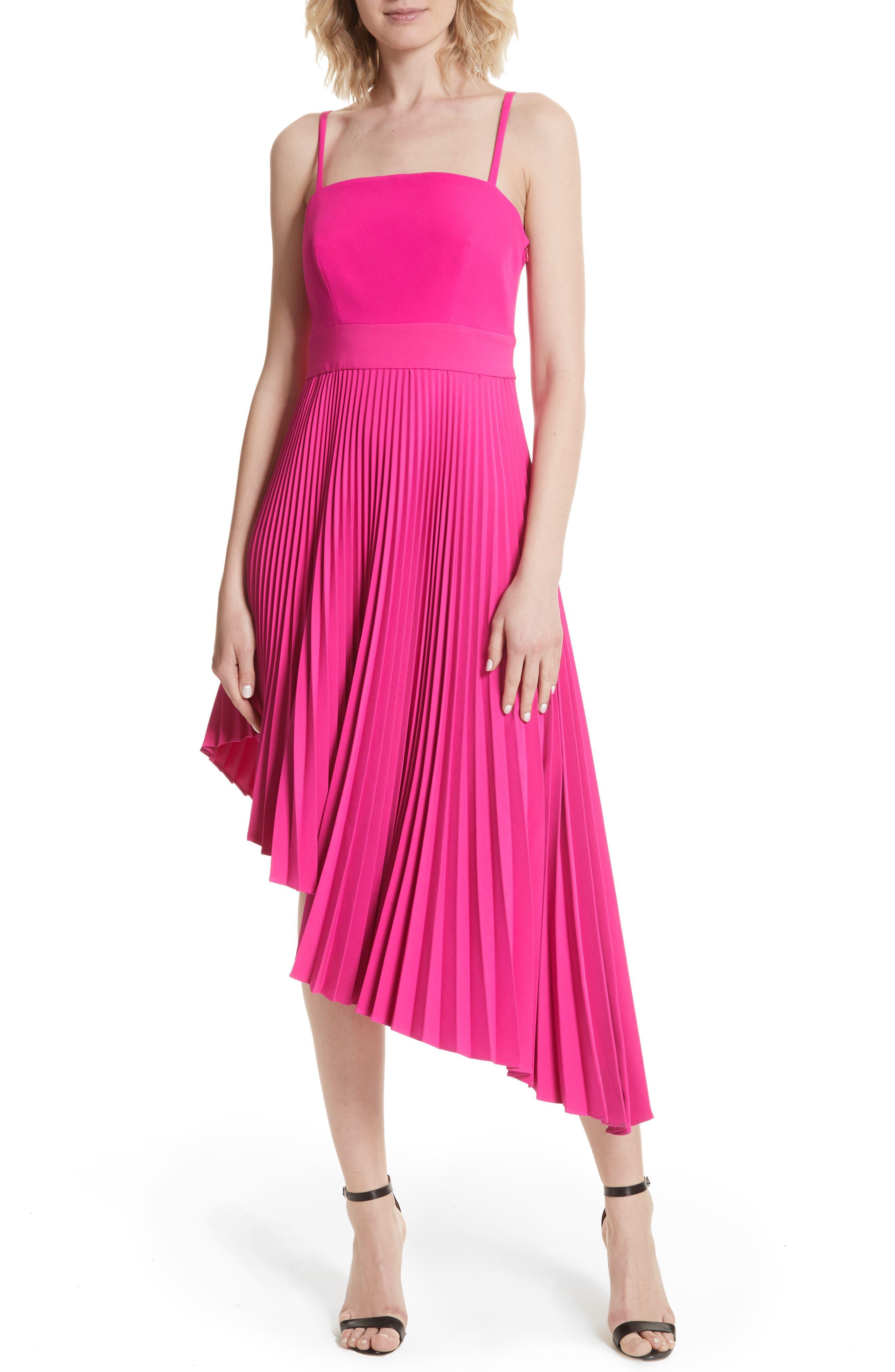 Eliza Pleated Asymmetrical Sundress,                             Main thumbnail 1, color,                             Raspberry
