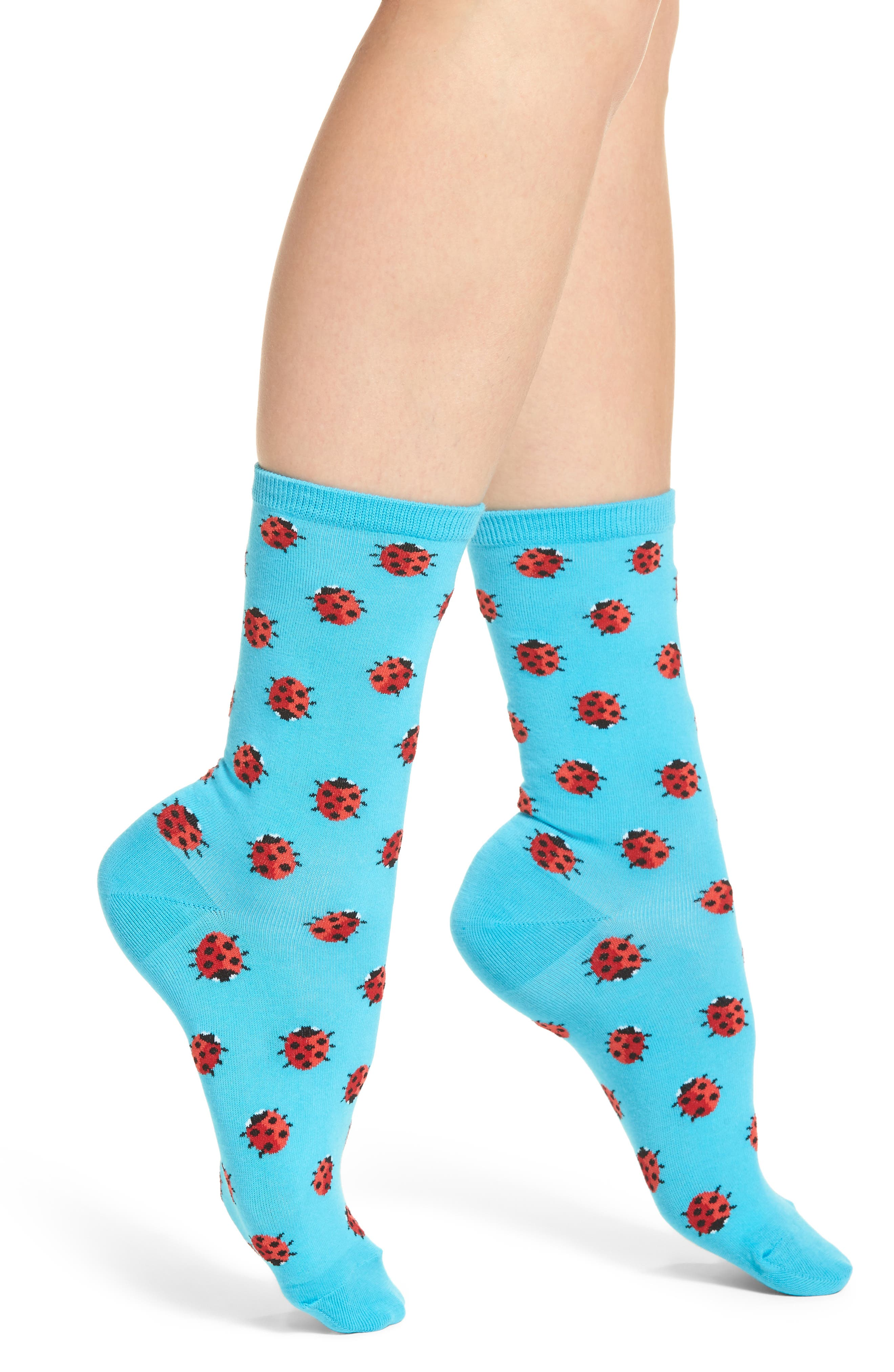 Ladybug Crew Socks,                             Main thumbnail 1, color,                             Light Blue