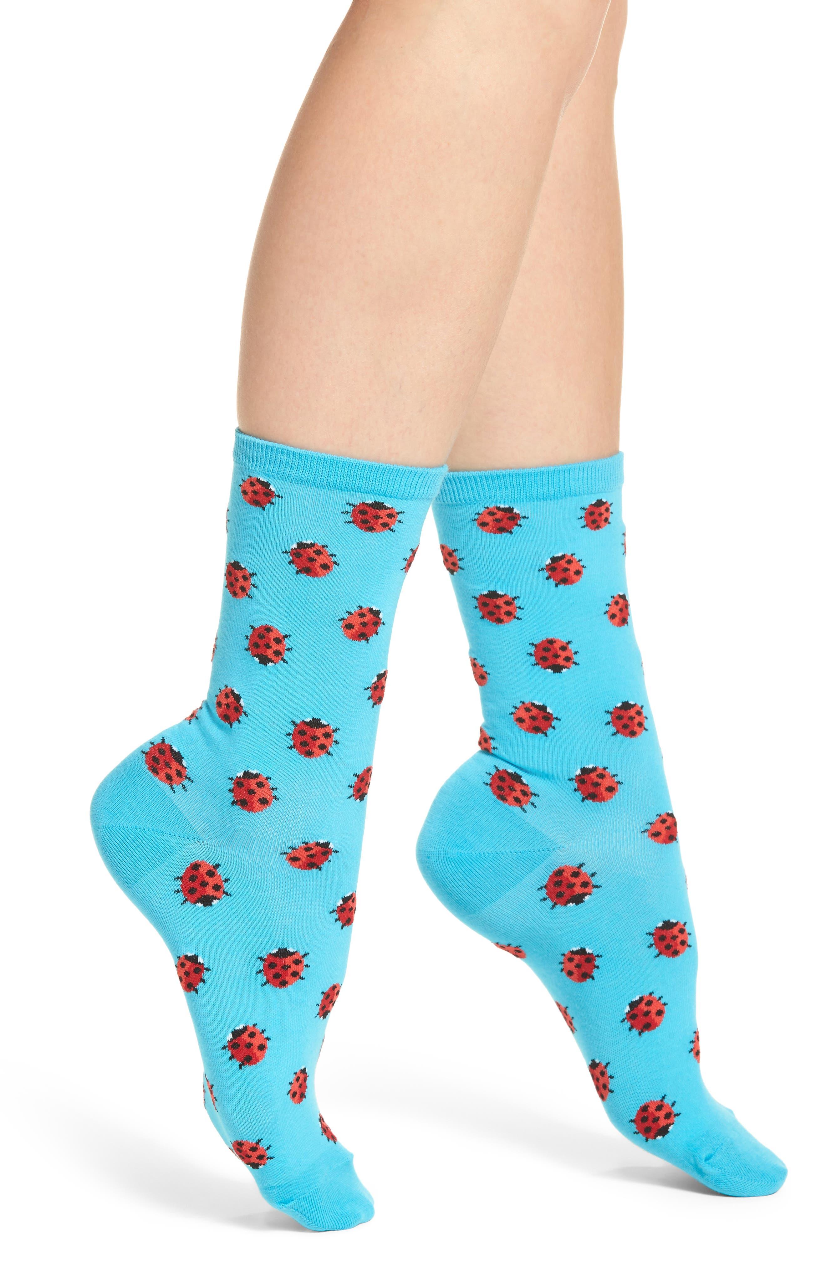 Ladybug Crew Socks,                         Main,                         color, Light Blue