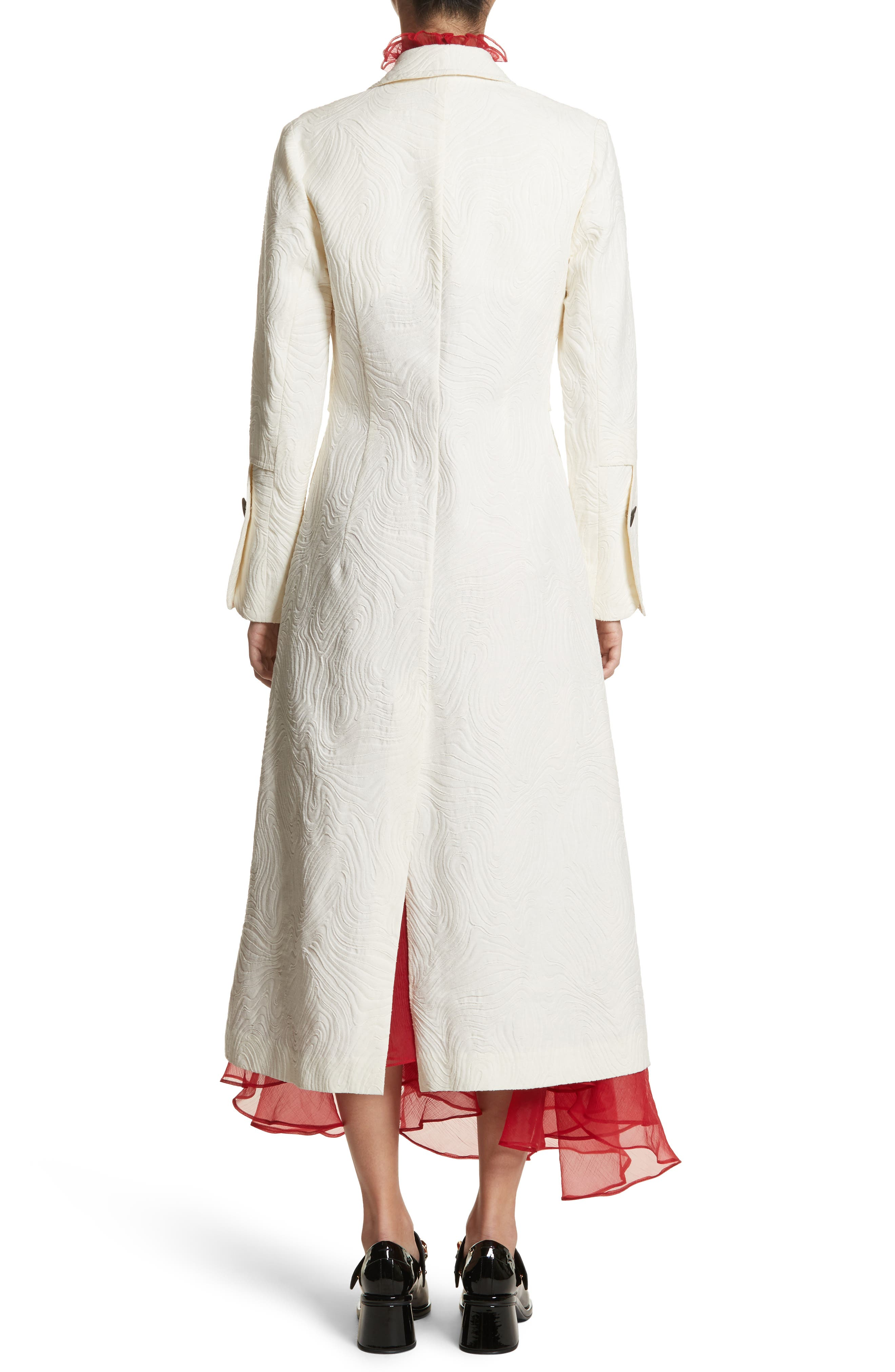 Rhodes Swirl Jacquard Trench Coat,                             Alternate thumbnail 3, color,                             Off White