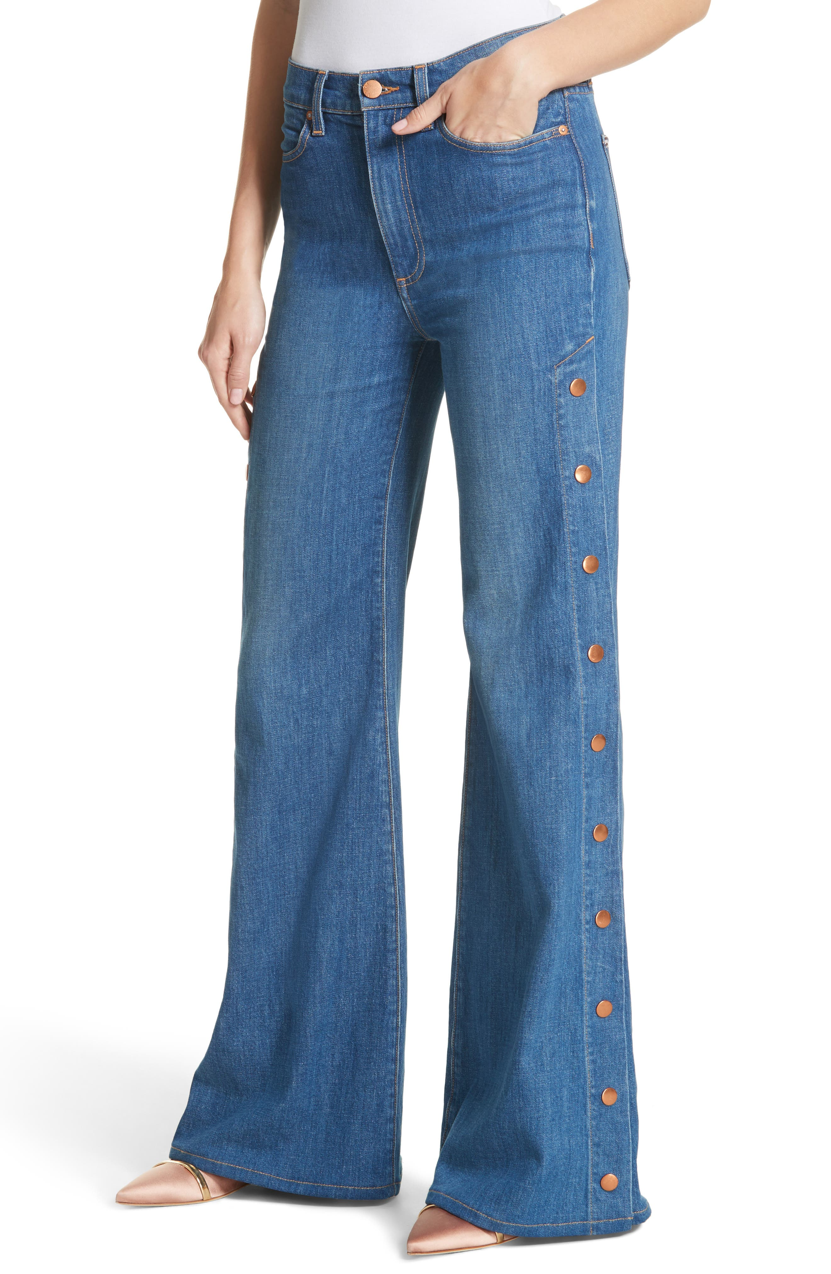 AO.LA Gorgeous Snap Side Flare Leg Jeans,                             Alternate thumbnail 4, color,                             French Blue