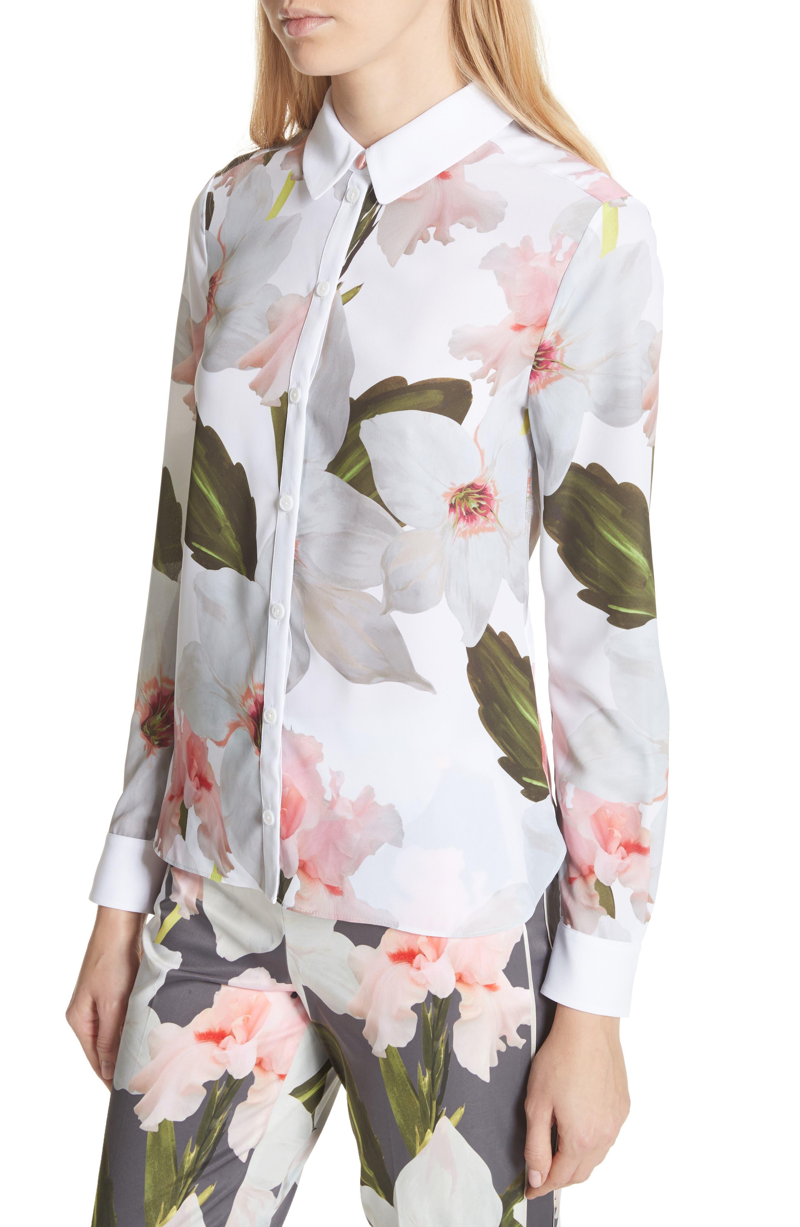 Chatsworth Bloom Shirt,                             Alternate thumbnail 4, color,                             White