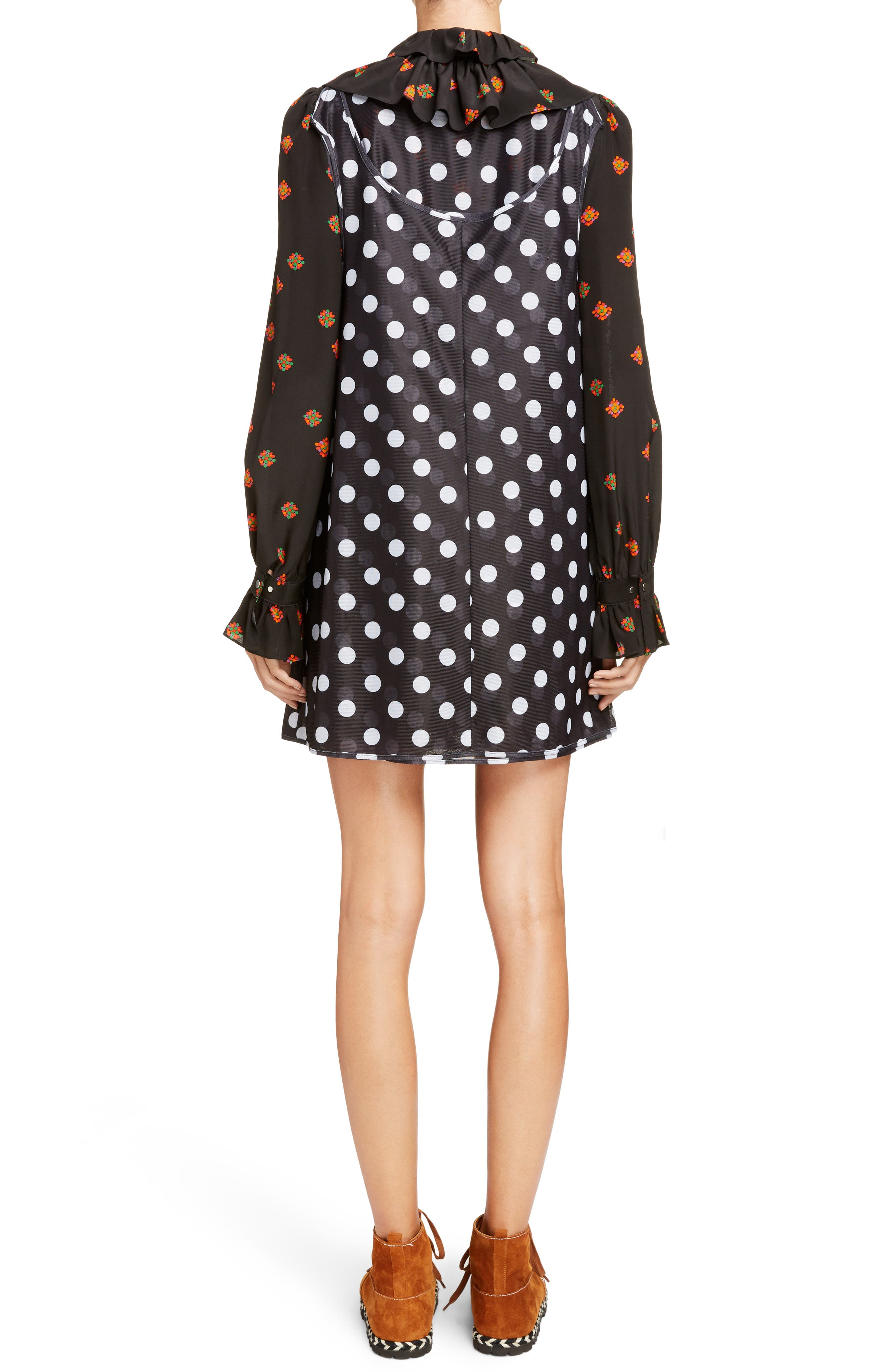 Polka Dot Minidress with Ditsy Floral Blouse,                             Alternate thumbnail 2, color,                             Black