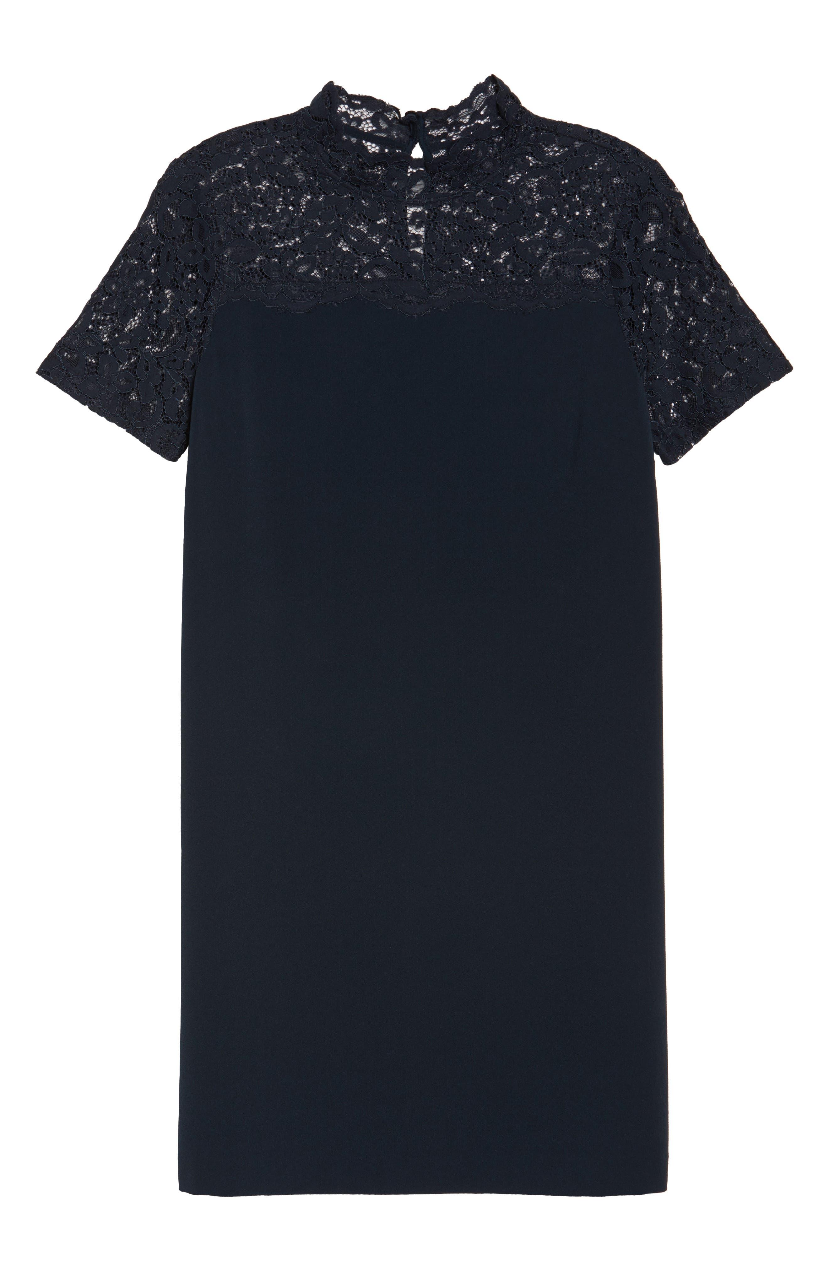 Portofino Lace Detail Shift Dress,                             Alternate thumbnail 6, color,                             Navy