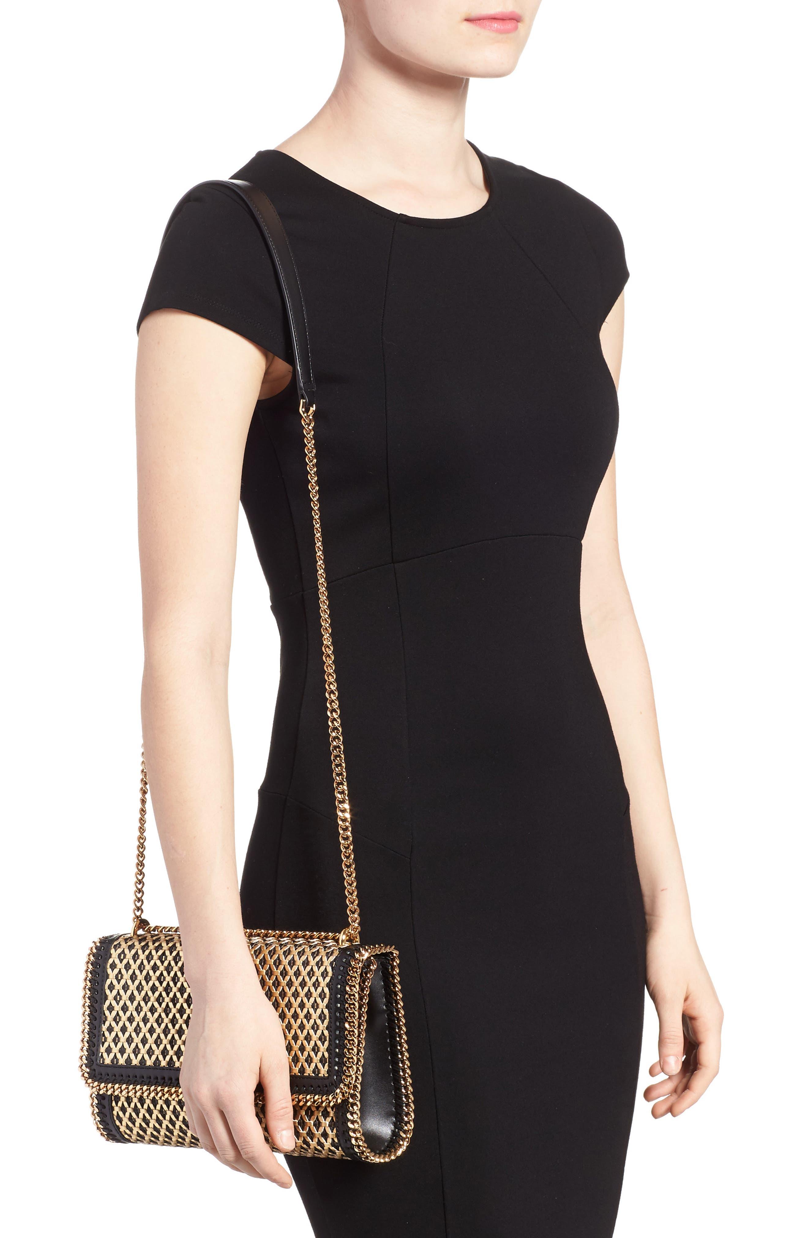 Woven Faux Leather Flap Shoulder Bag,                             Alternate thumbnail 2, color,                             Black