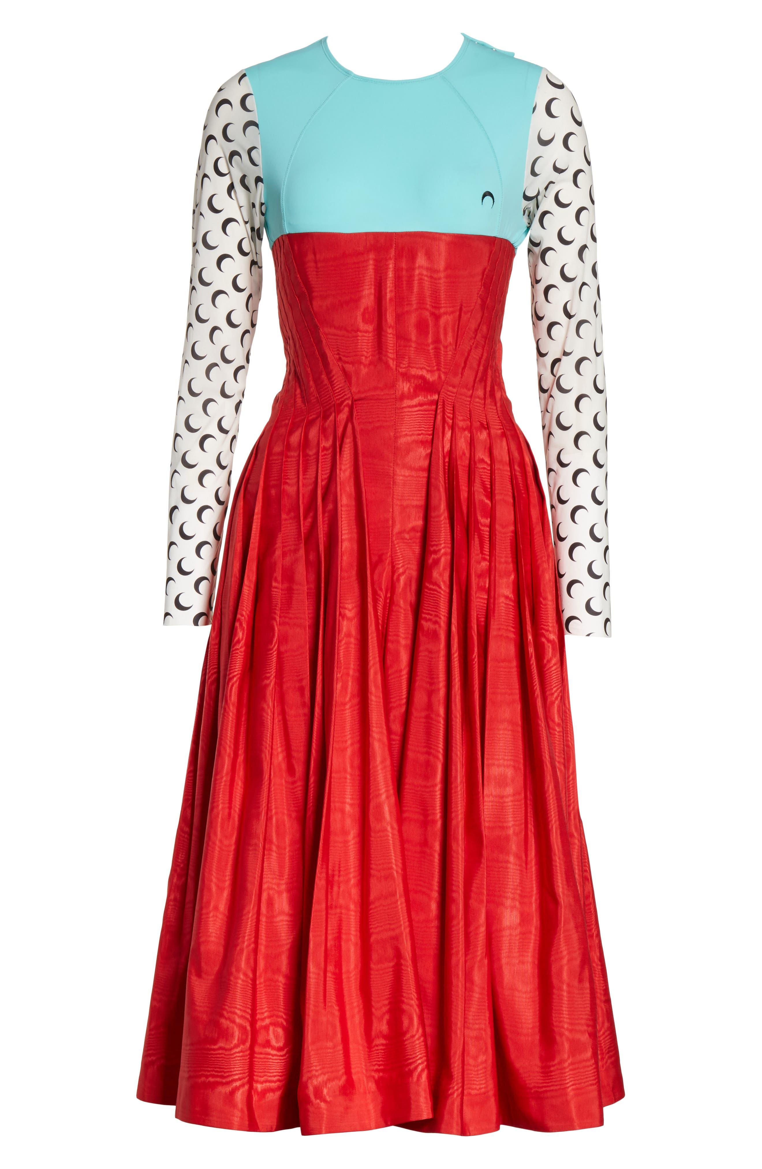 Hybrid Moiré Dress,                             Alternate thumbnail 7, color,                             Turquoise/ Red