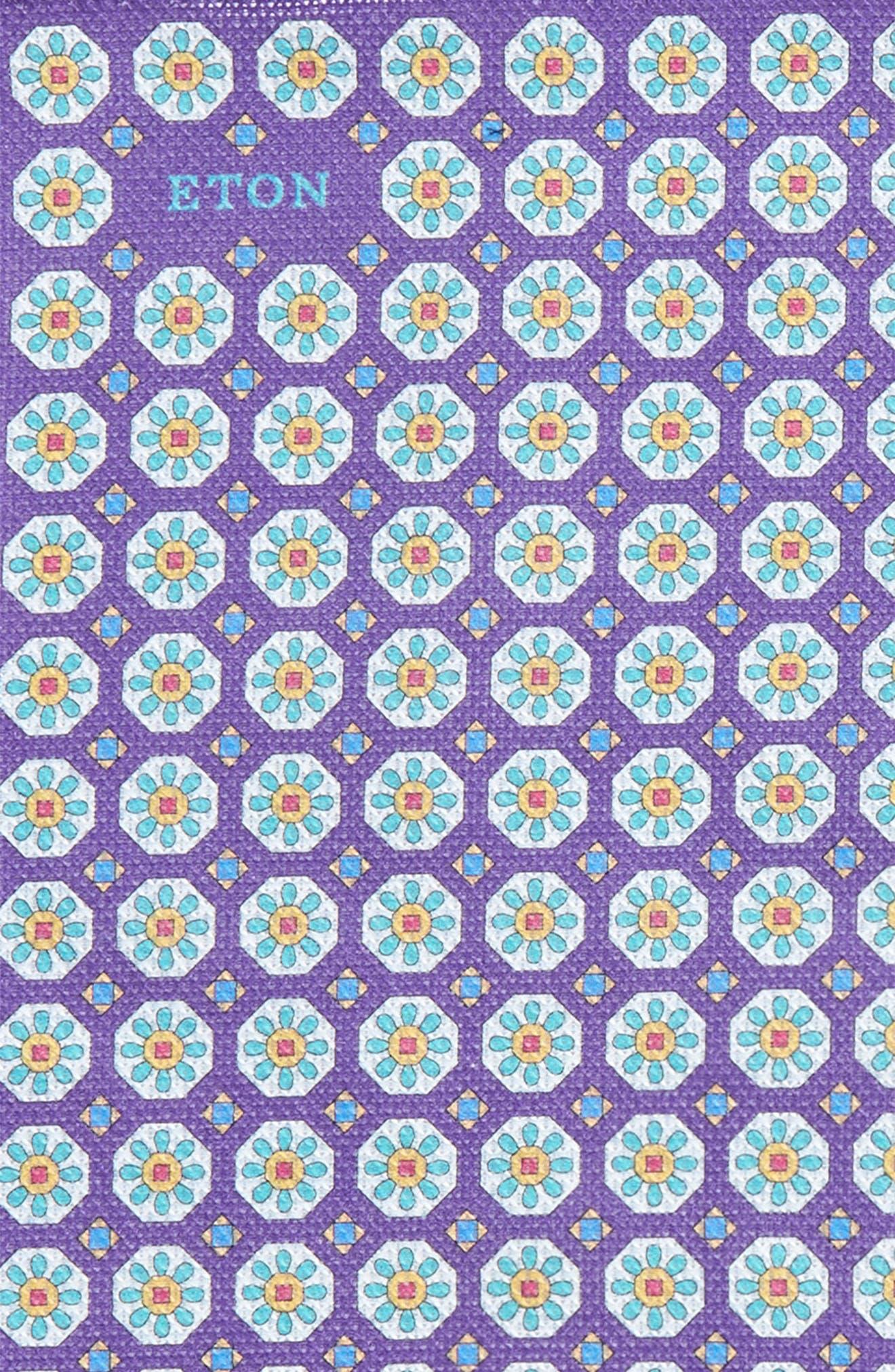 Medallion Cotton Pocket Square,                             Alternate thumbnail 3, color,                             Purple
