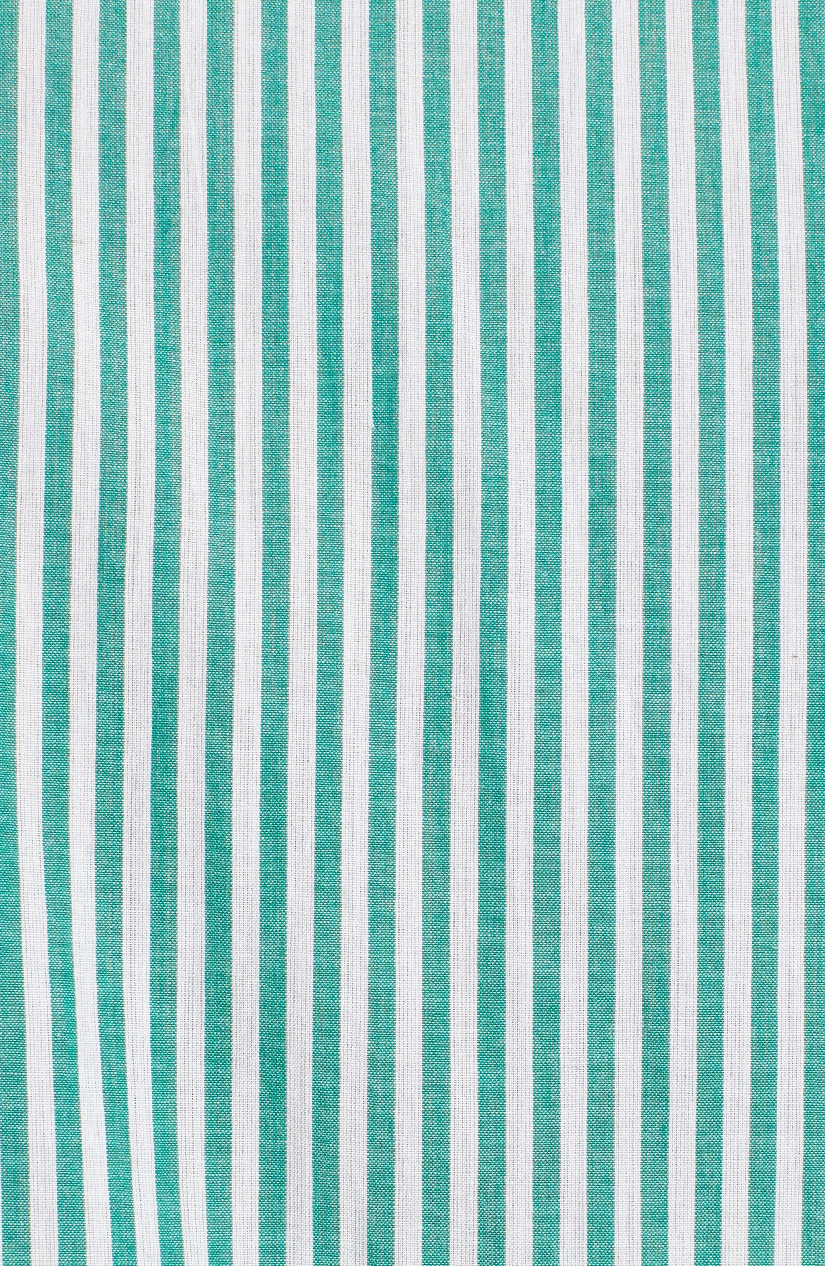Popover Stripe Cotton Shirt,                             Alternate thumbnail 6, color,                             Green