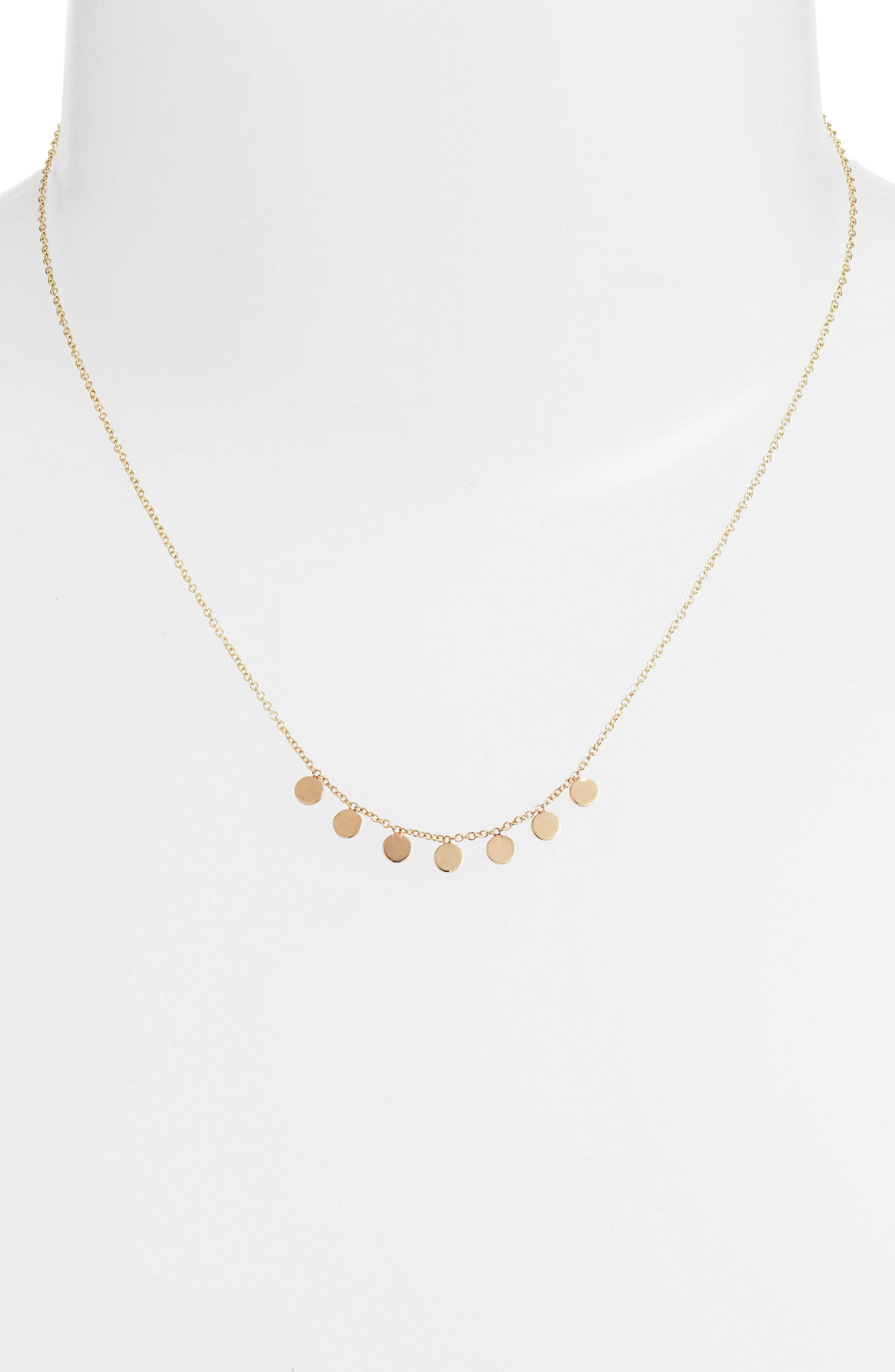 Itty Bitty Dangle Disc Necklace,                             Alternate thumbnail 2, color,                             Yellow Gold