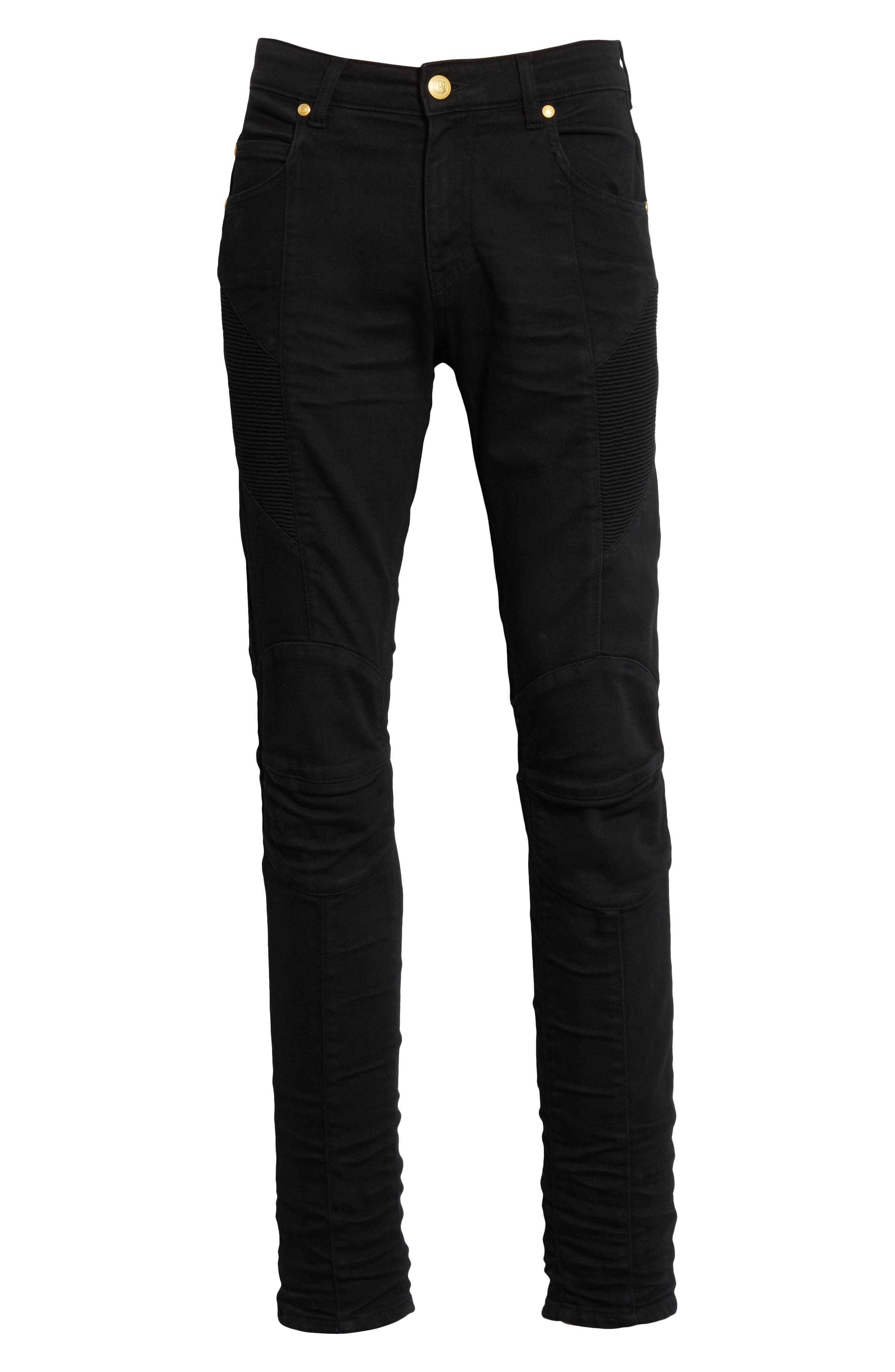 Moto Jeans,                             Alternate thumbnail 6, color,                             Black Denim