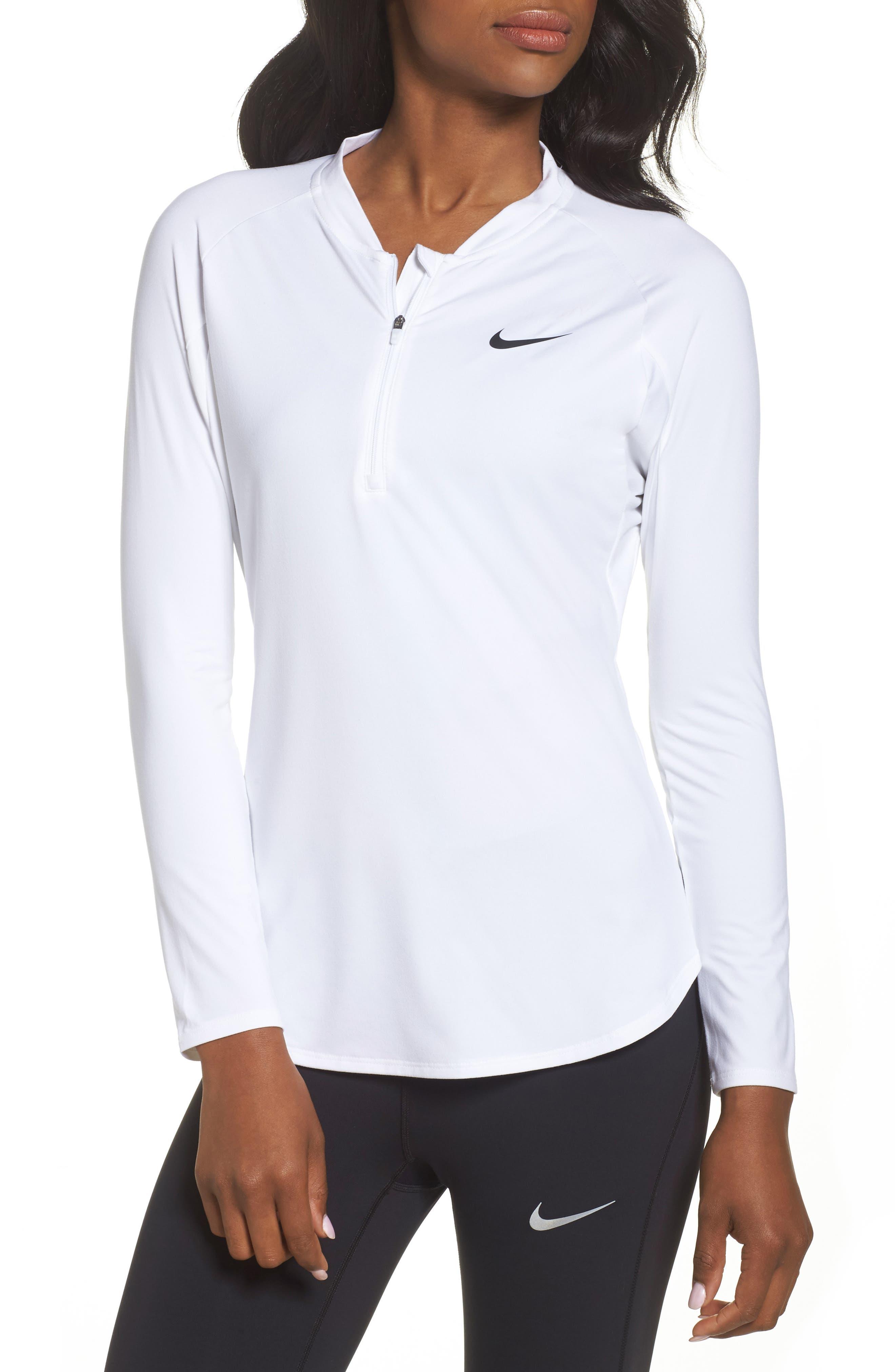 Court Pure Half Zip Tennis Top,                             Main thumbnail 1, color,                             White/ Black