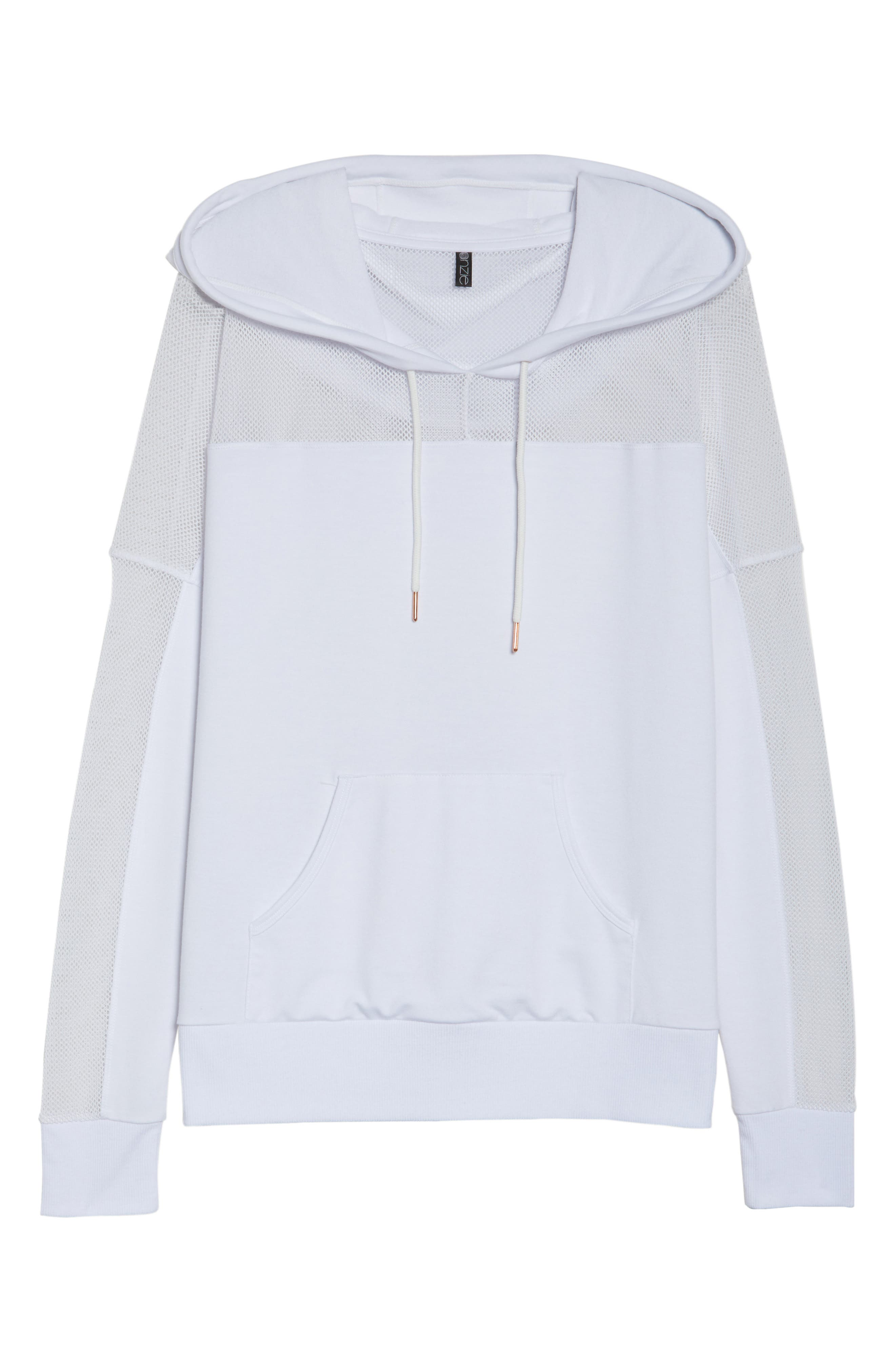 Mesh Sleeve Hoodie,                             Alternate thumbnail 7, color,                             White