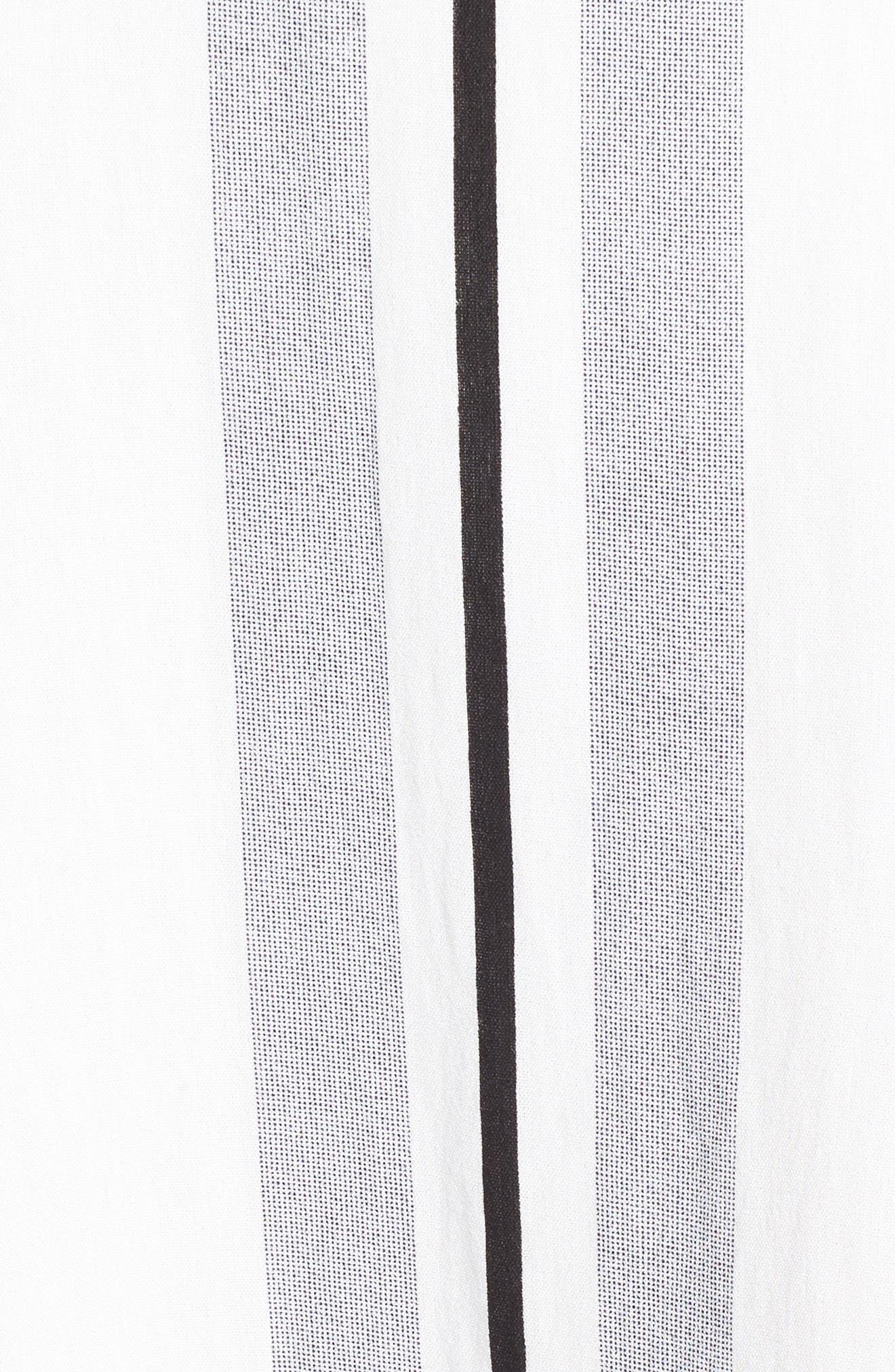 Stripe Tie Front Midi Dress,                             Alternate thumbnail 5, color,                             Blue/ White Stripe