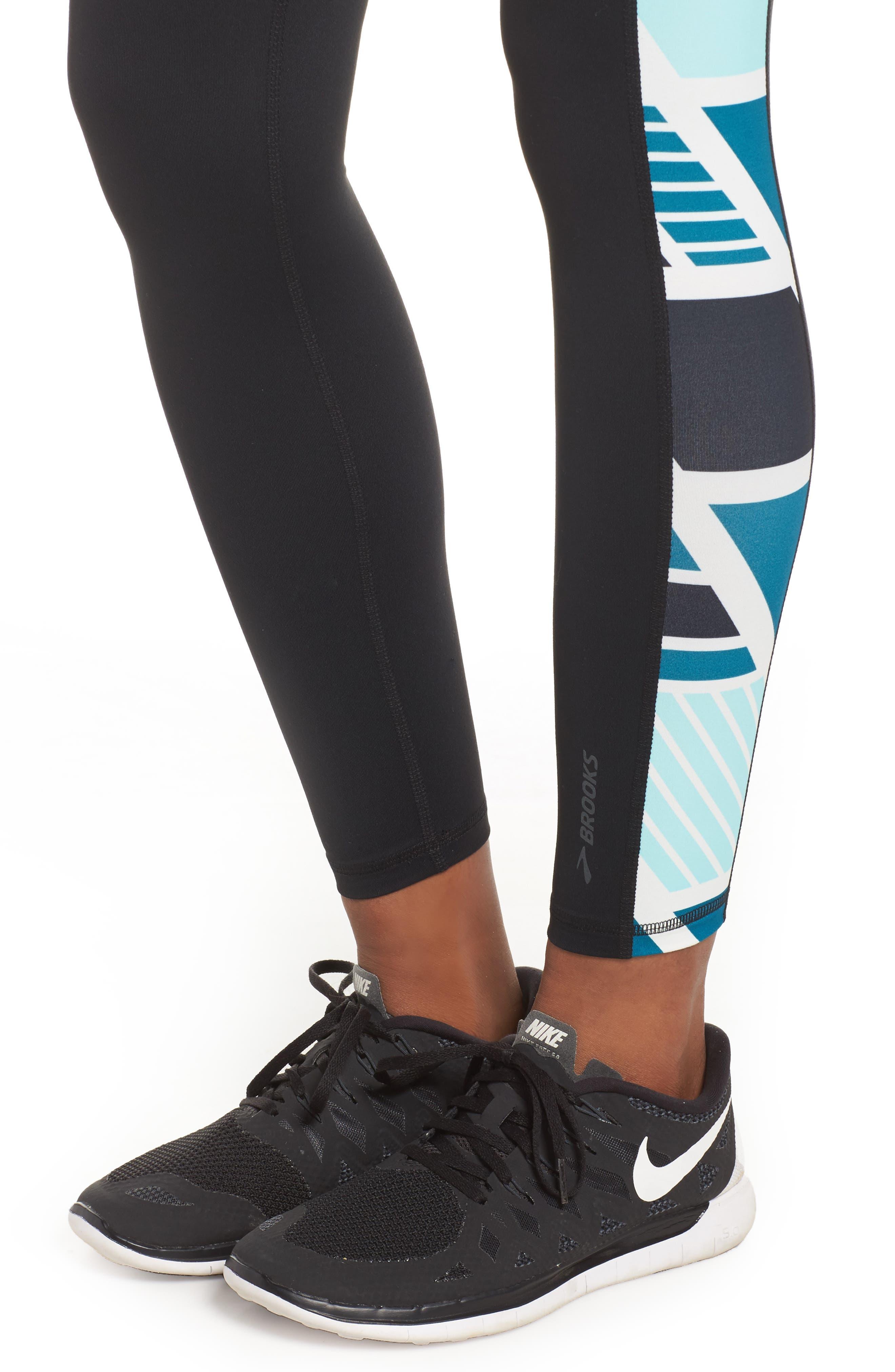 Greenlight Leggings,                             Alternate thumbnail 4, color,                             Black/ Ocean Wave