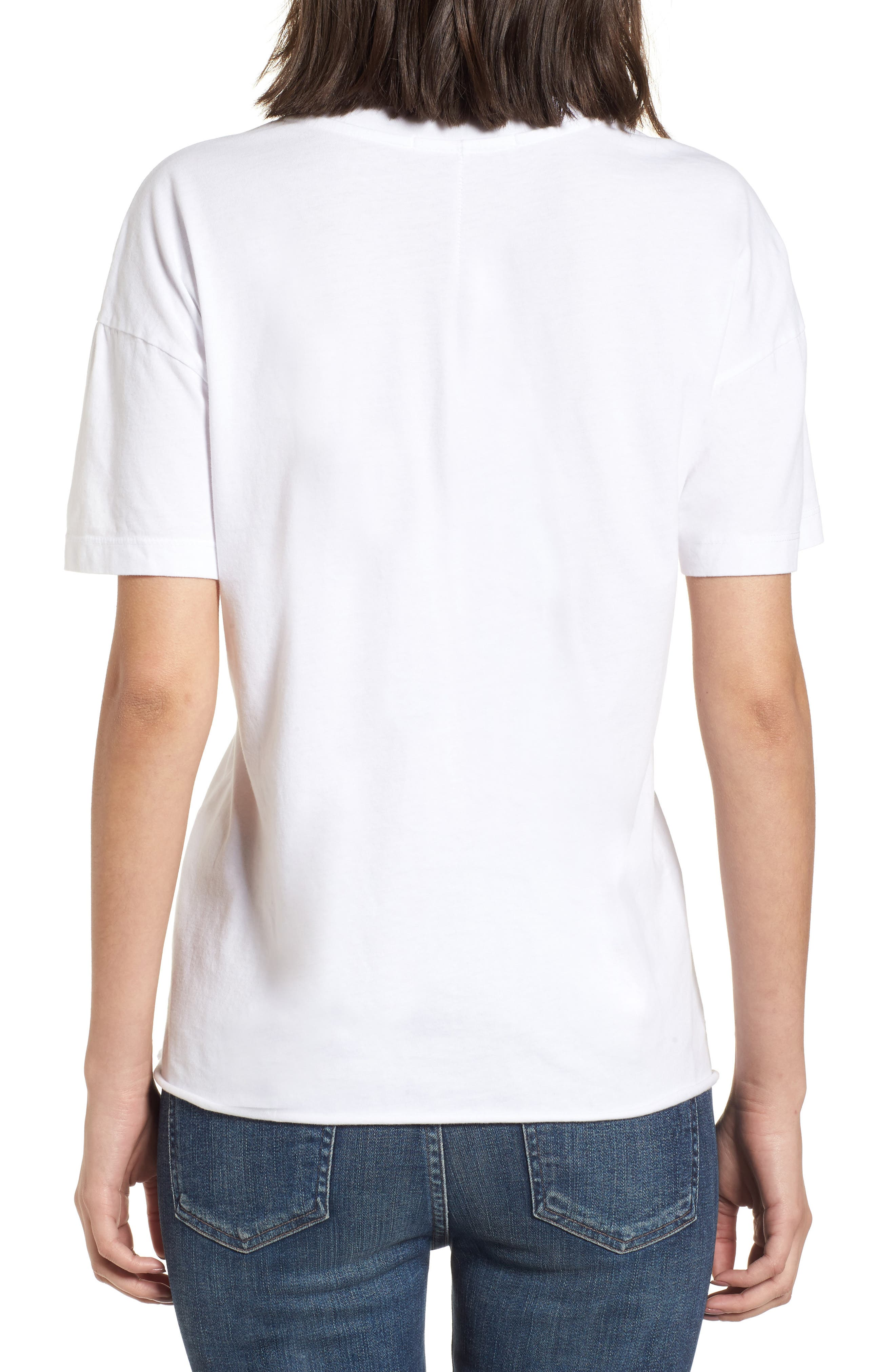 Ruched Brushed Cotton Tee,                             Alternate thumbnail 2, color,                             White