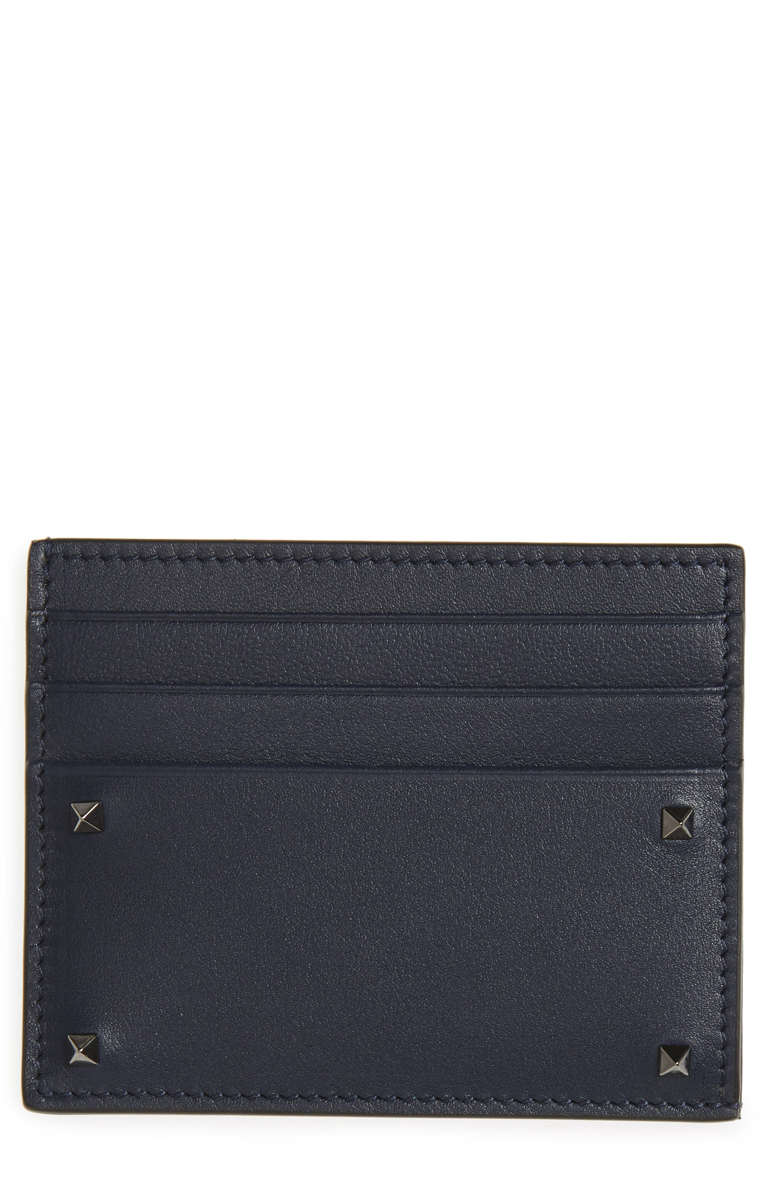 VALENTINO GARAVANI Mini Rock Stud Leather Card Case