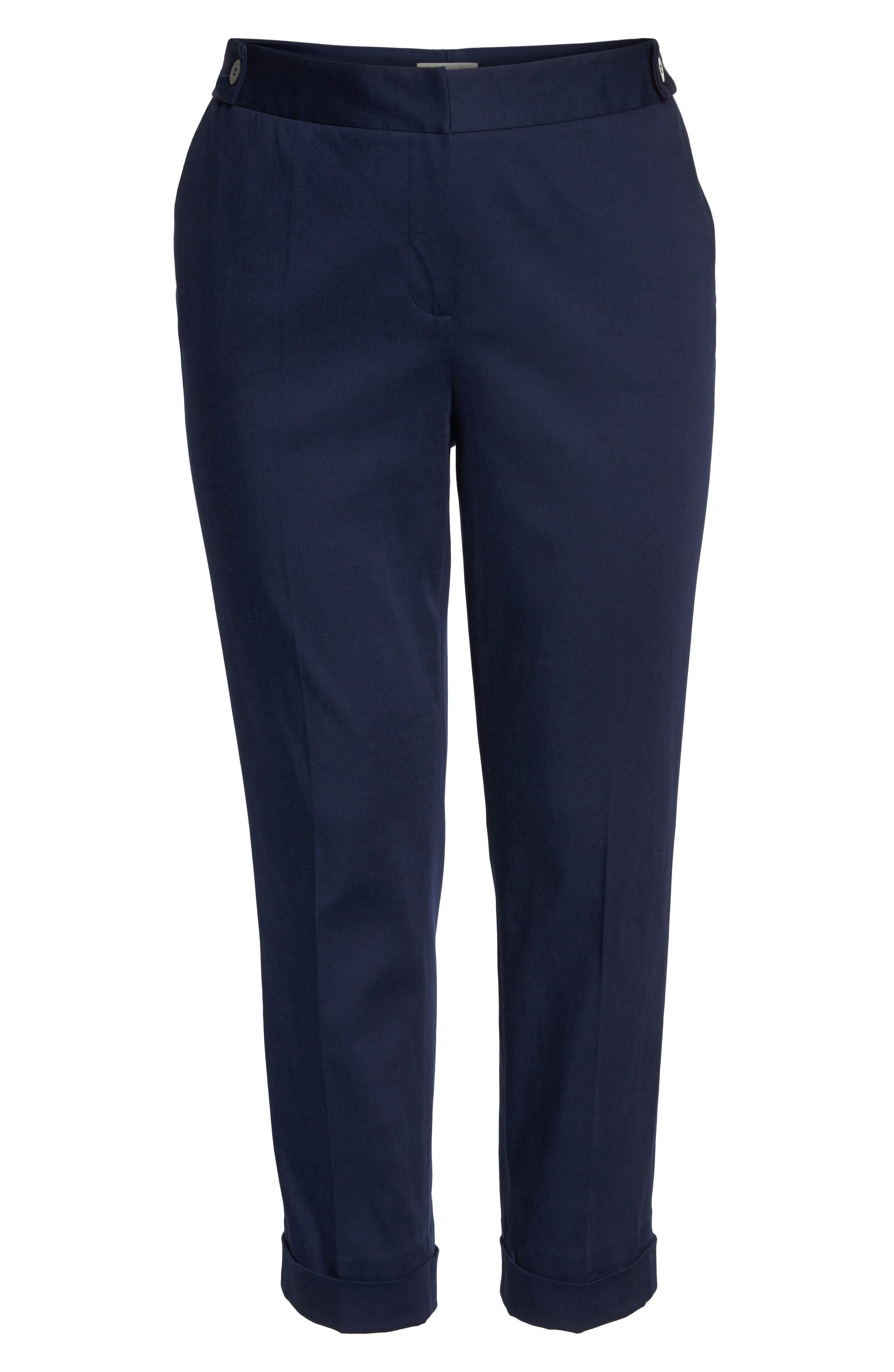 Stretch Twill Ankle Pants,                             Alternate thumbnail 7, color,                             Navy Peacoat