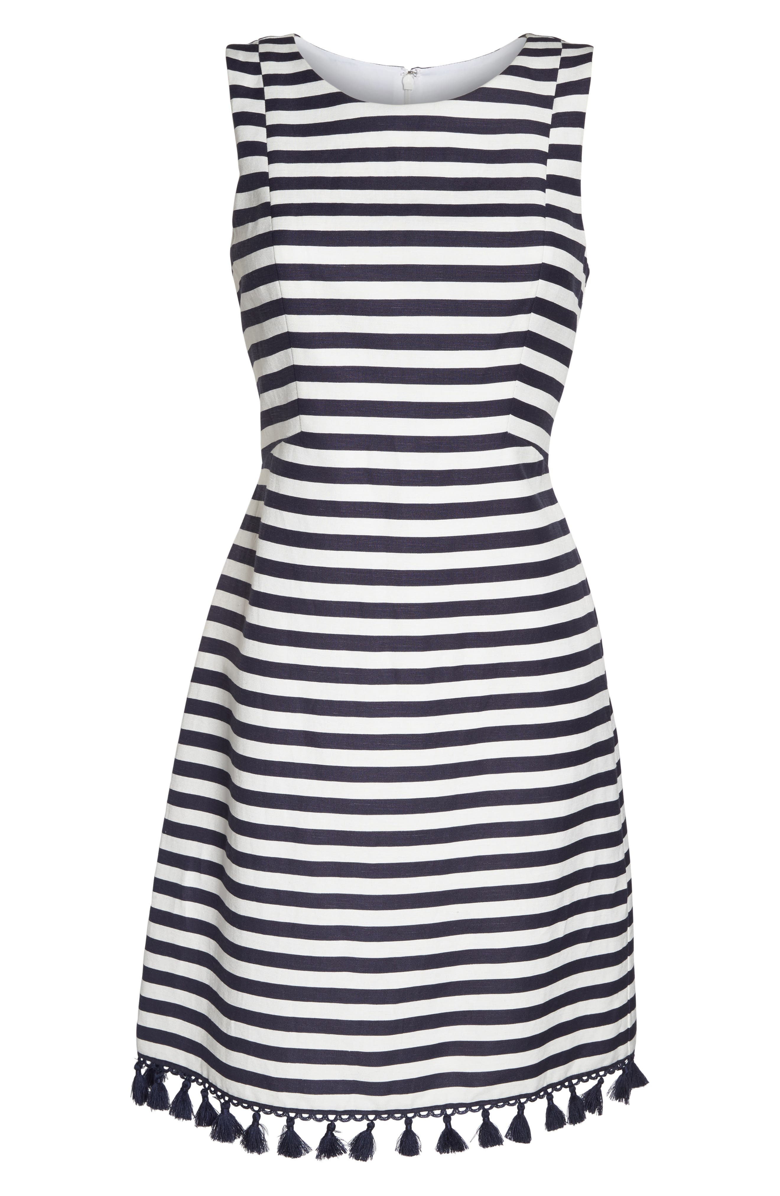Stripe A-Line Dress,                             Alternate thumbnail 6, color,                             Navy/ White