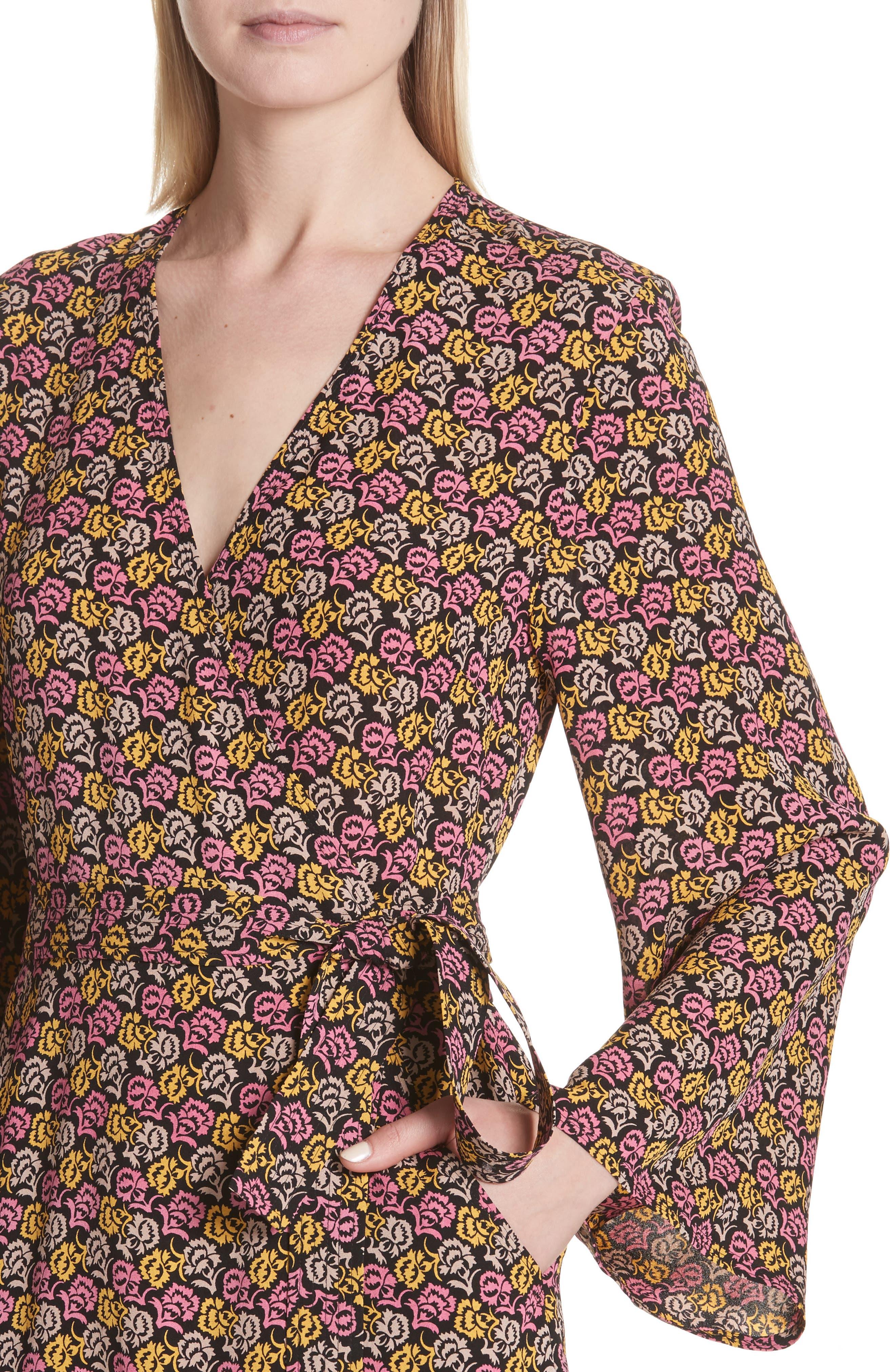 Whitney Bell Sleeve Silk Wrap Dress,                             Alternate thumbnail 4, color,                             Pink Multi