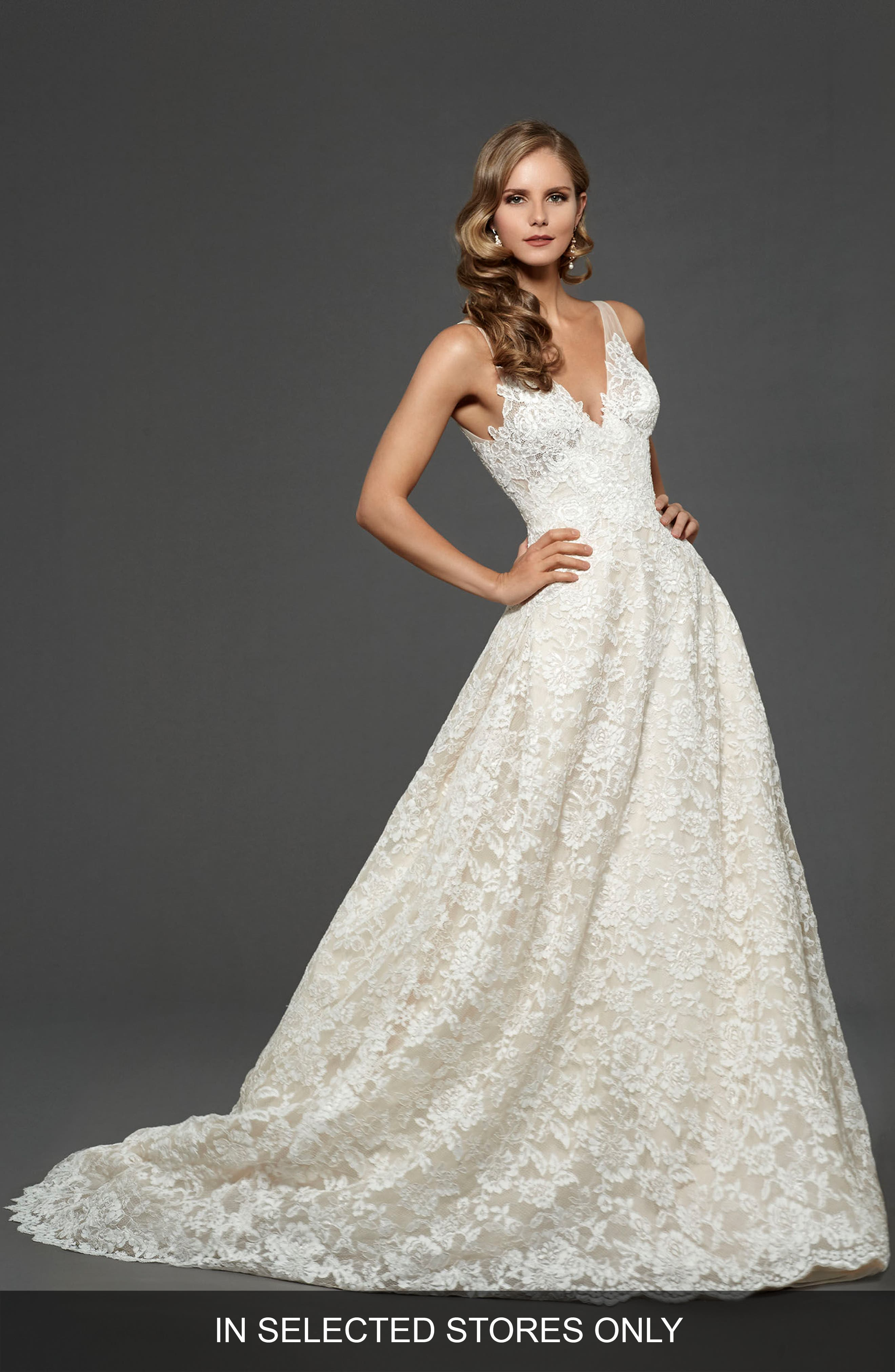 Matthew Christopher Suzanna Allover Lace Gown
