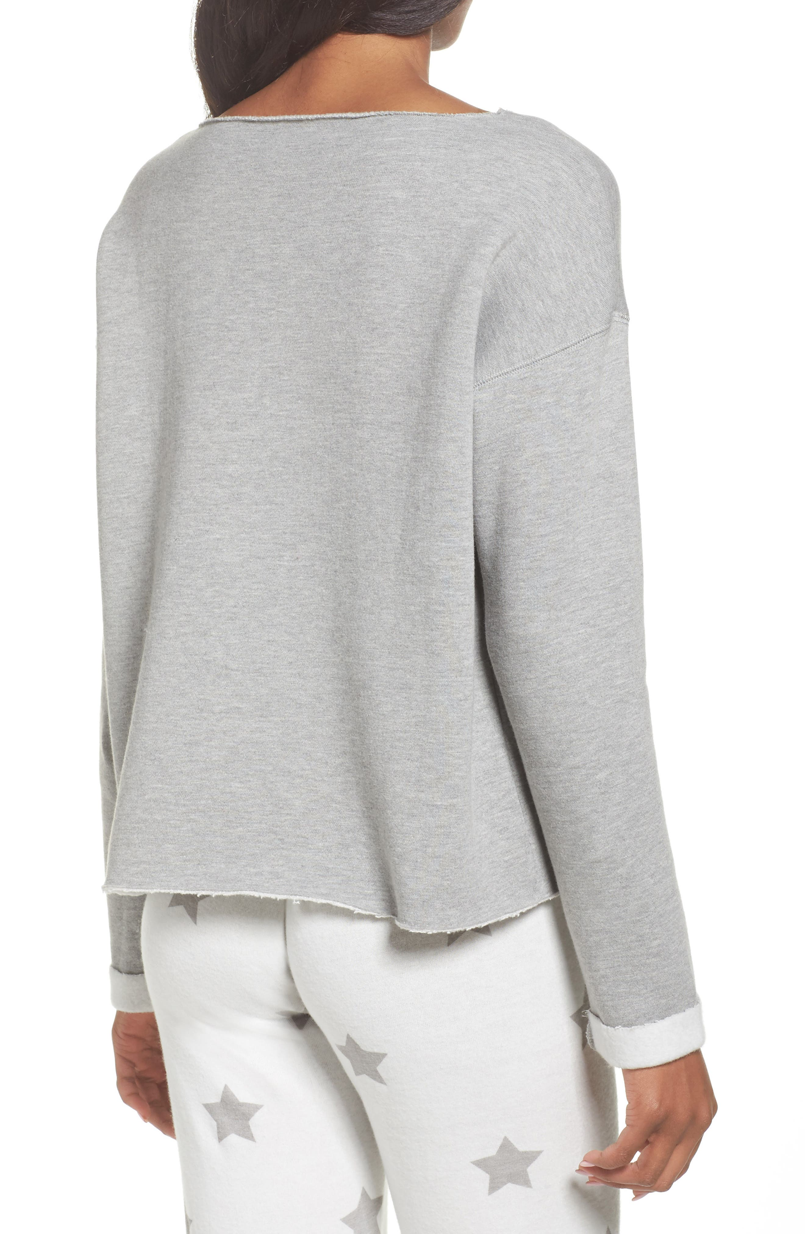 Raw Edge Pullover,                             Alternate thumbnail 2, color,                             Heather Grey