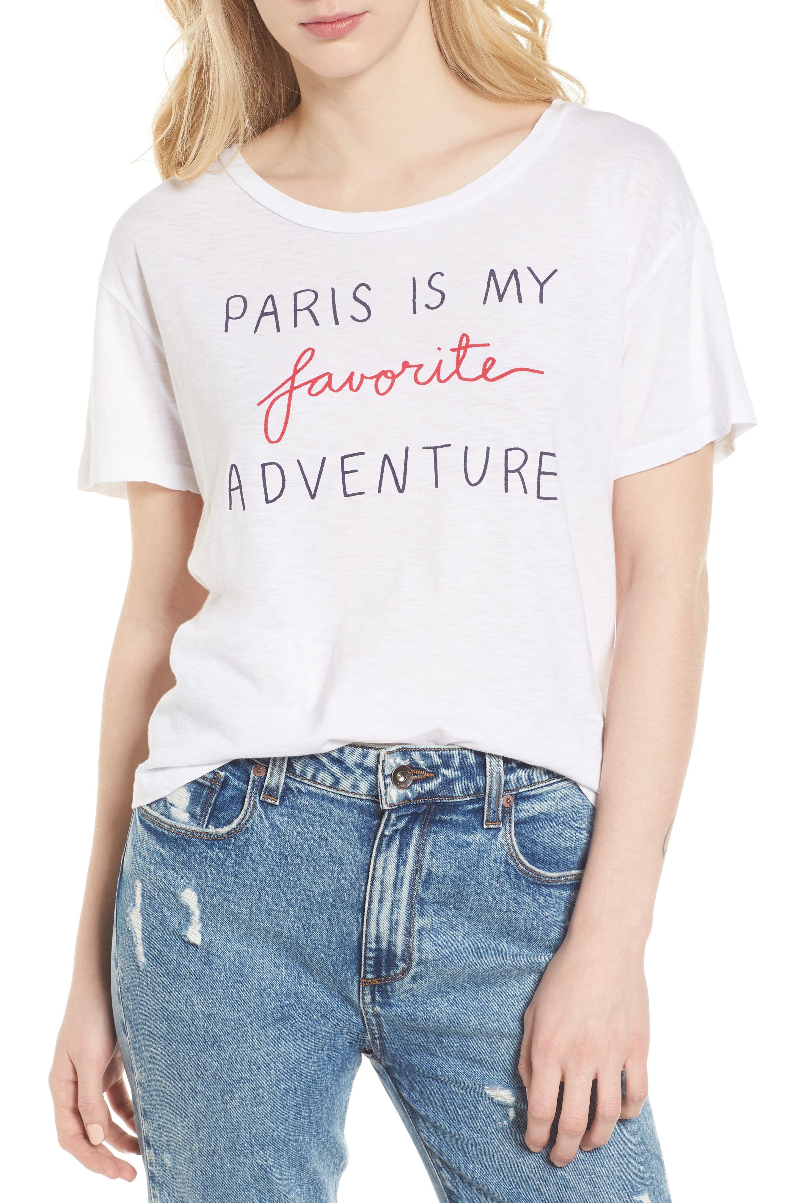 Paris Is My Favorite Adventure Tee,                         Main,                         color, White
