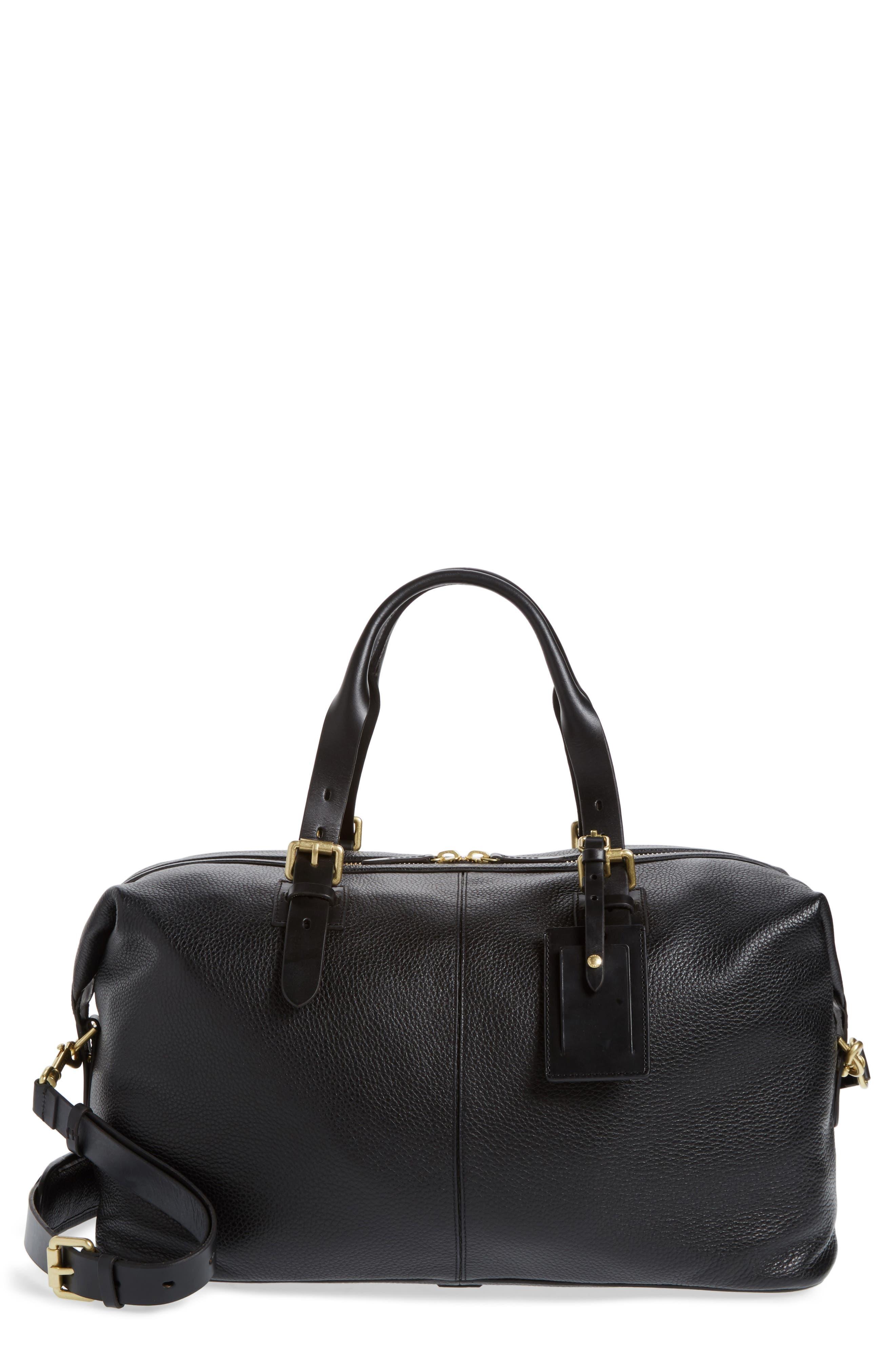 Leather Duffel Bag,                             Main thumbnail 1, color,                             Black