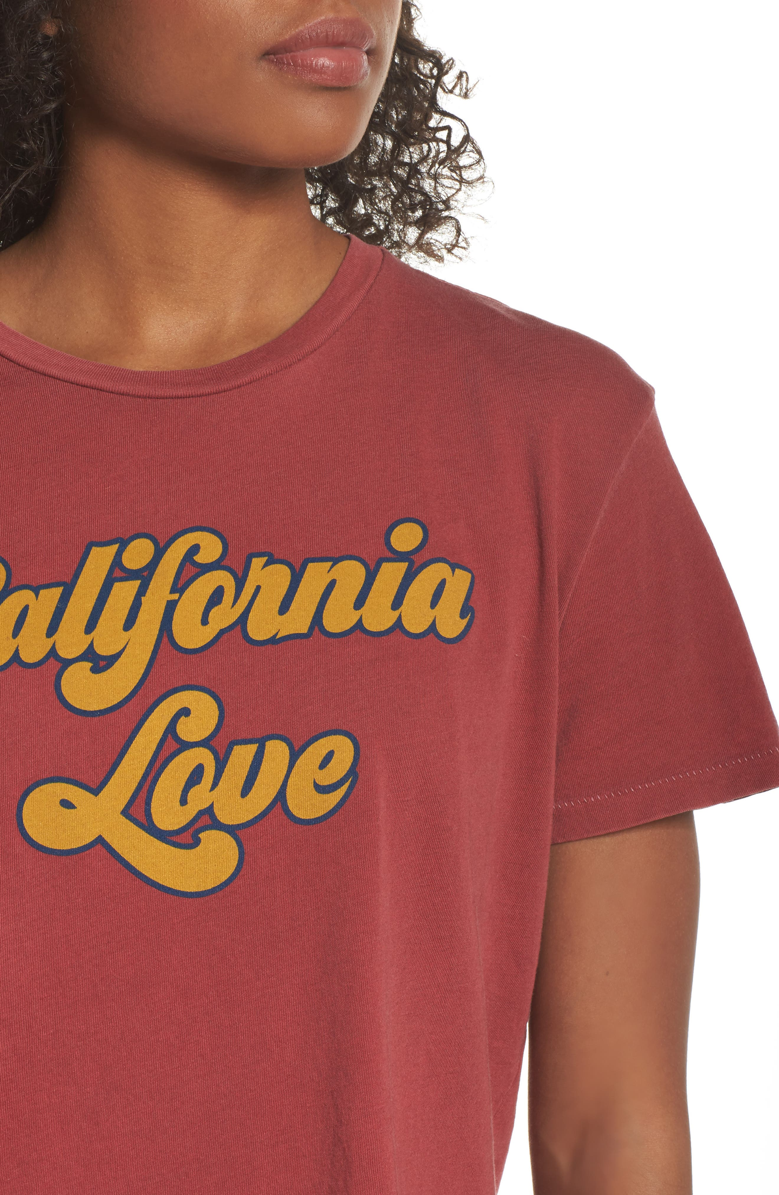 California Love Boyfriend Tee,                             Alternate thumbnail 4, color,                             Vintage Red