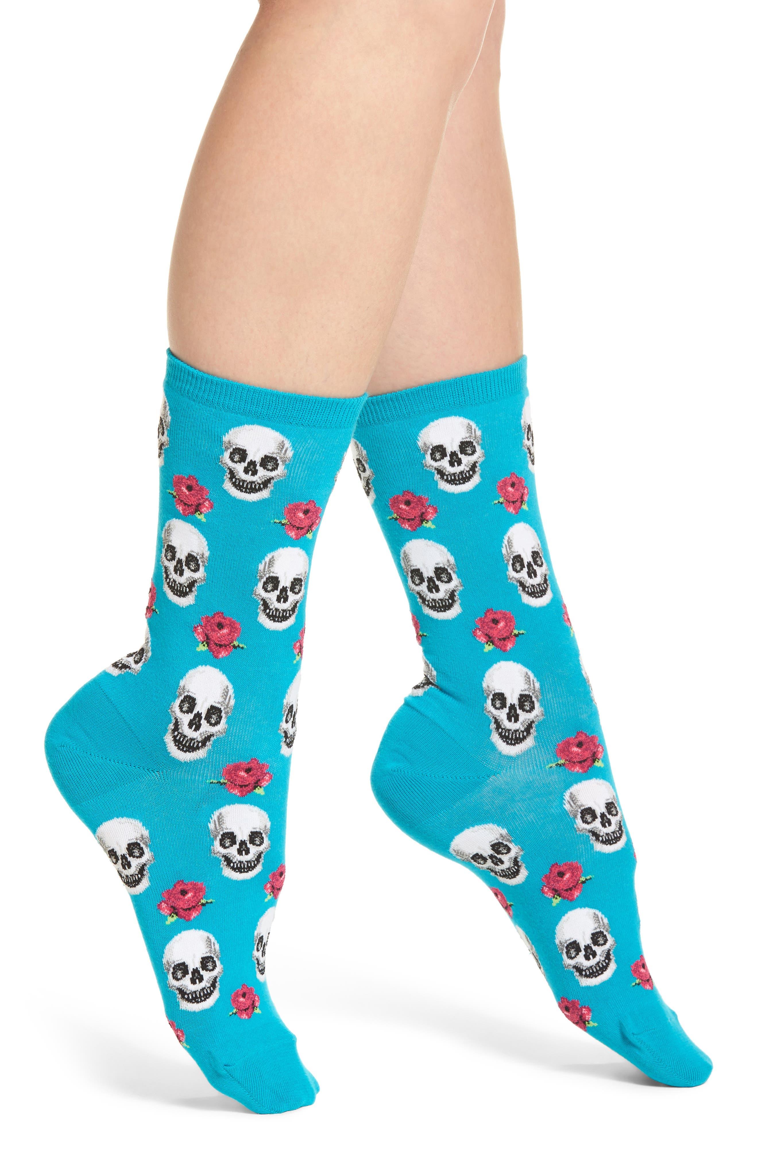 Hot Sox Skull & Roses Crew Socks (3 for $15)