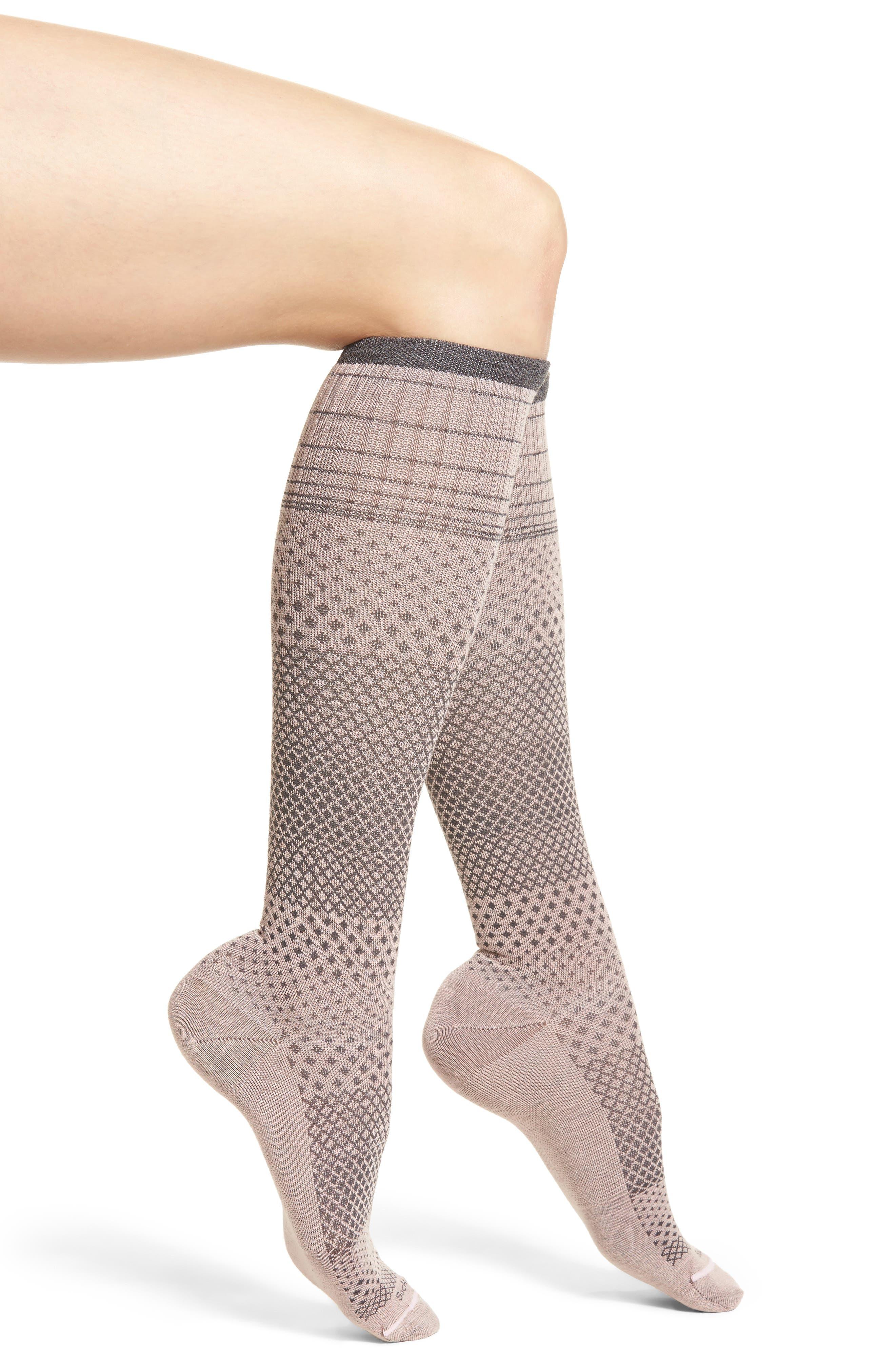 Micro Grade Compression Knee Socks,                             Main thumbnail 1, color,                             Rose
